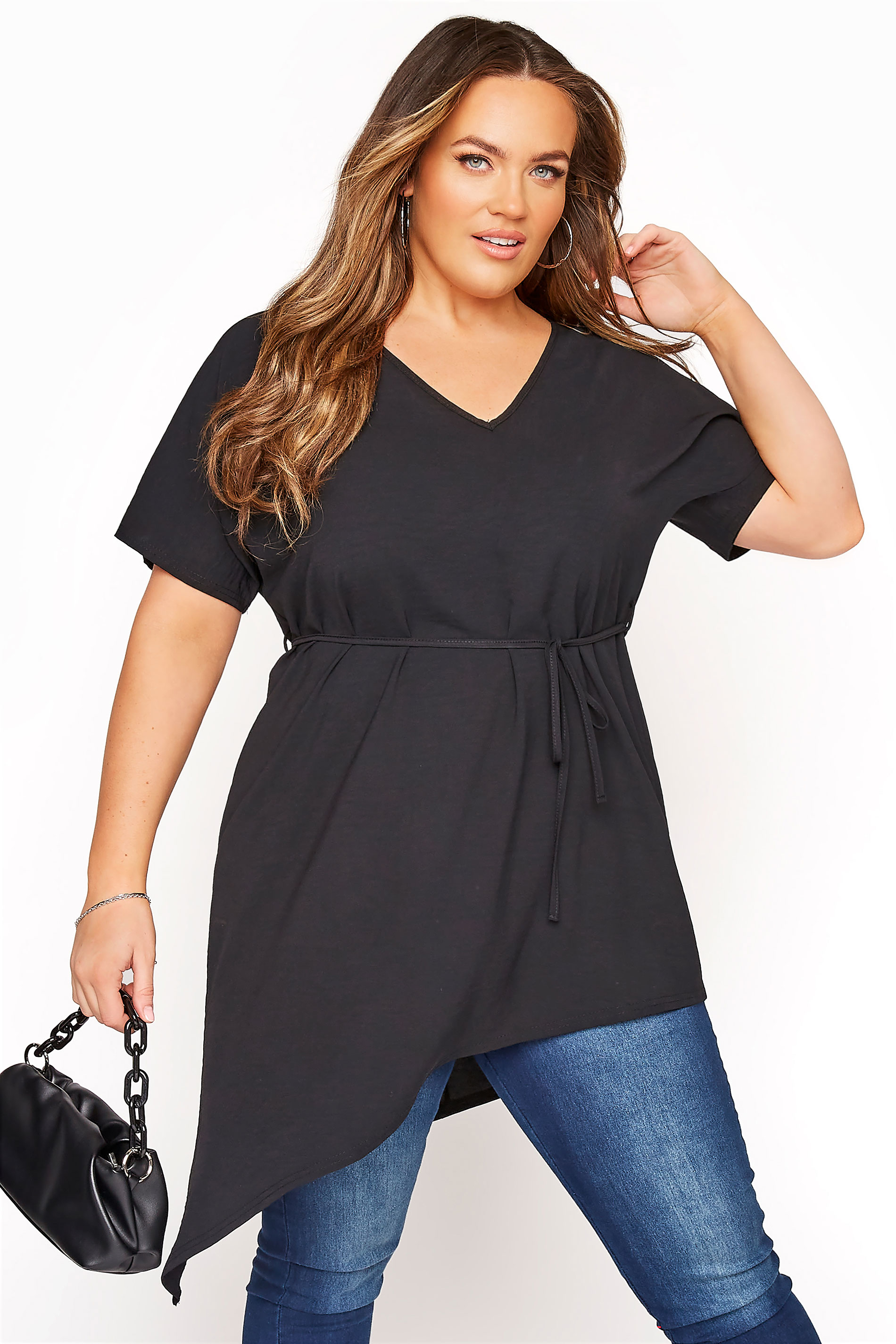 YOURS LONDON Black Belted Asymmetric Crepe Blouse
