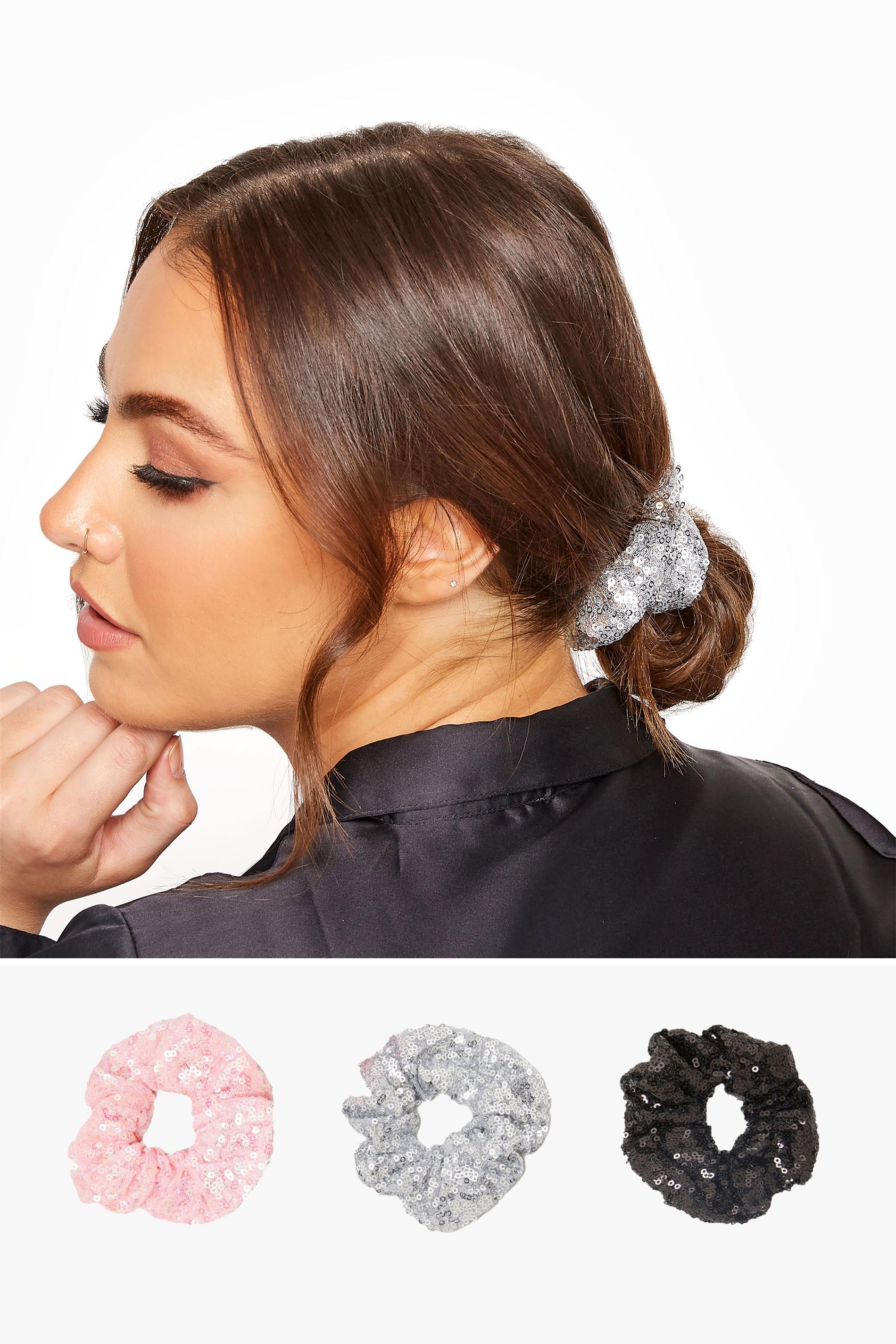 3 PACK Pink & Black Multi Sequin Scrunchie Set_split.jpg