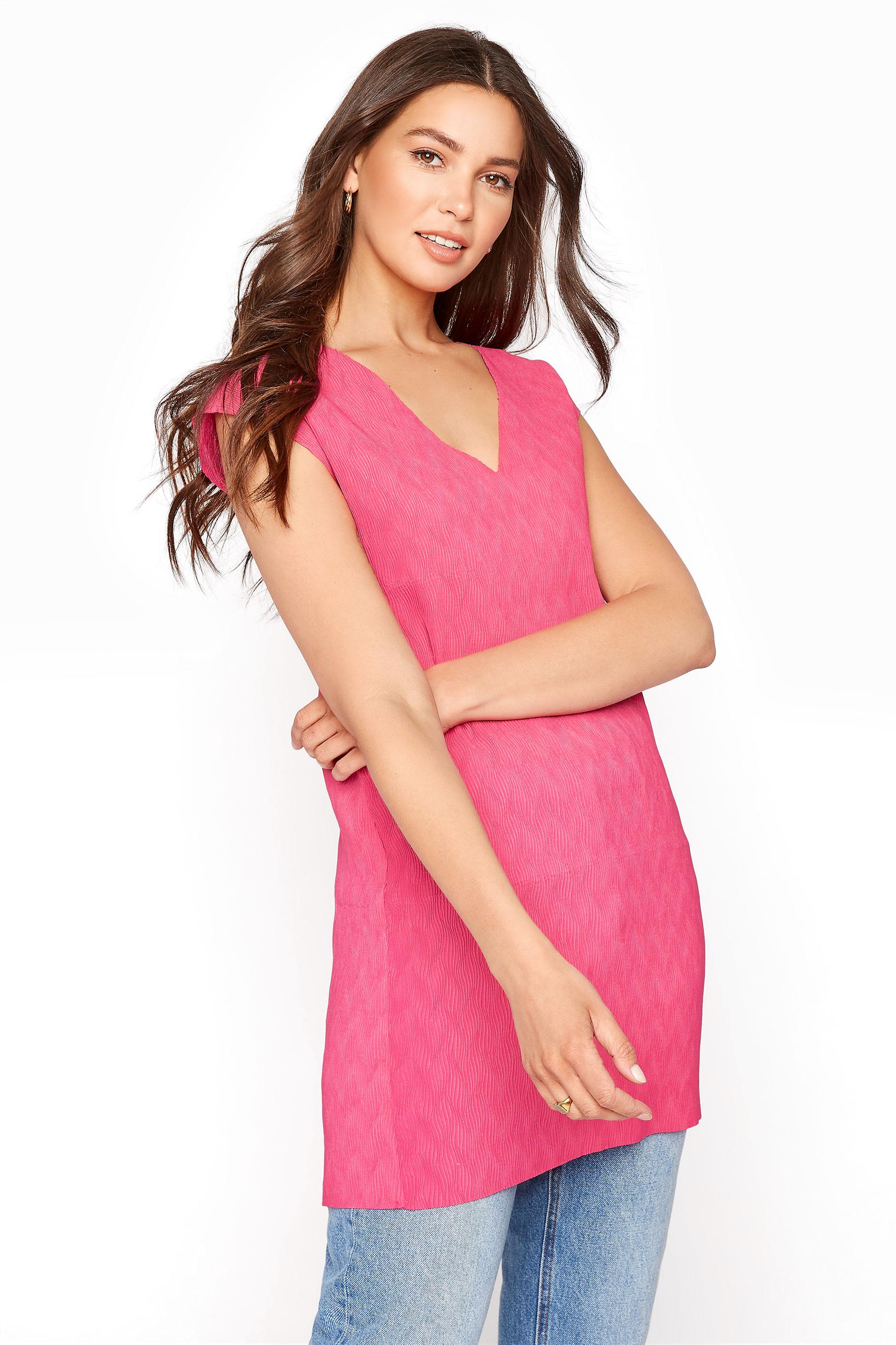 Pink Sleeveless Plisse Tunic