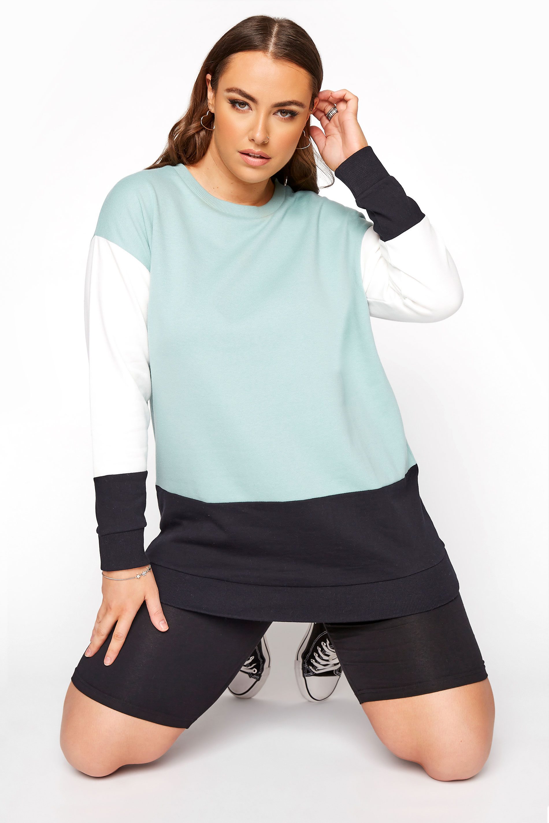 Sage Green Colourblock Sweatshirt