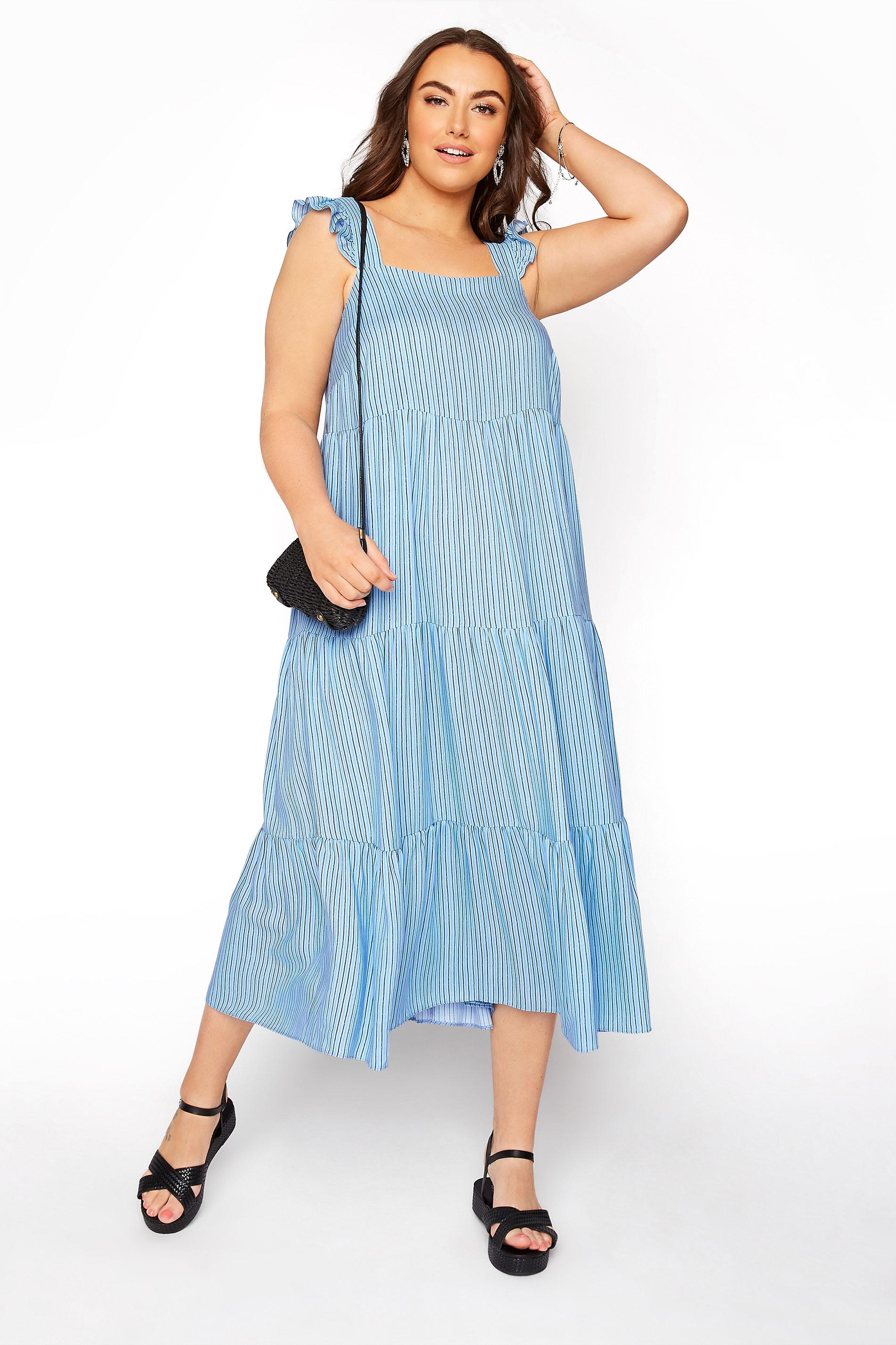 YOURS LONDON Blue Stripe Frill Tiered Midi Dress_B.jpg
