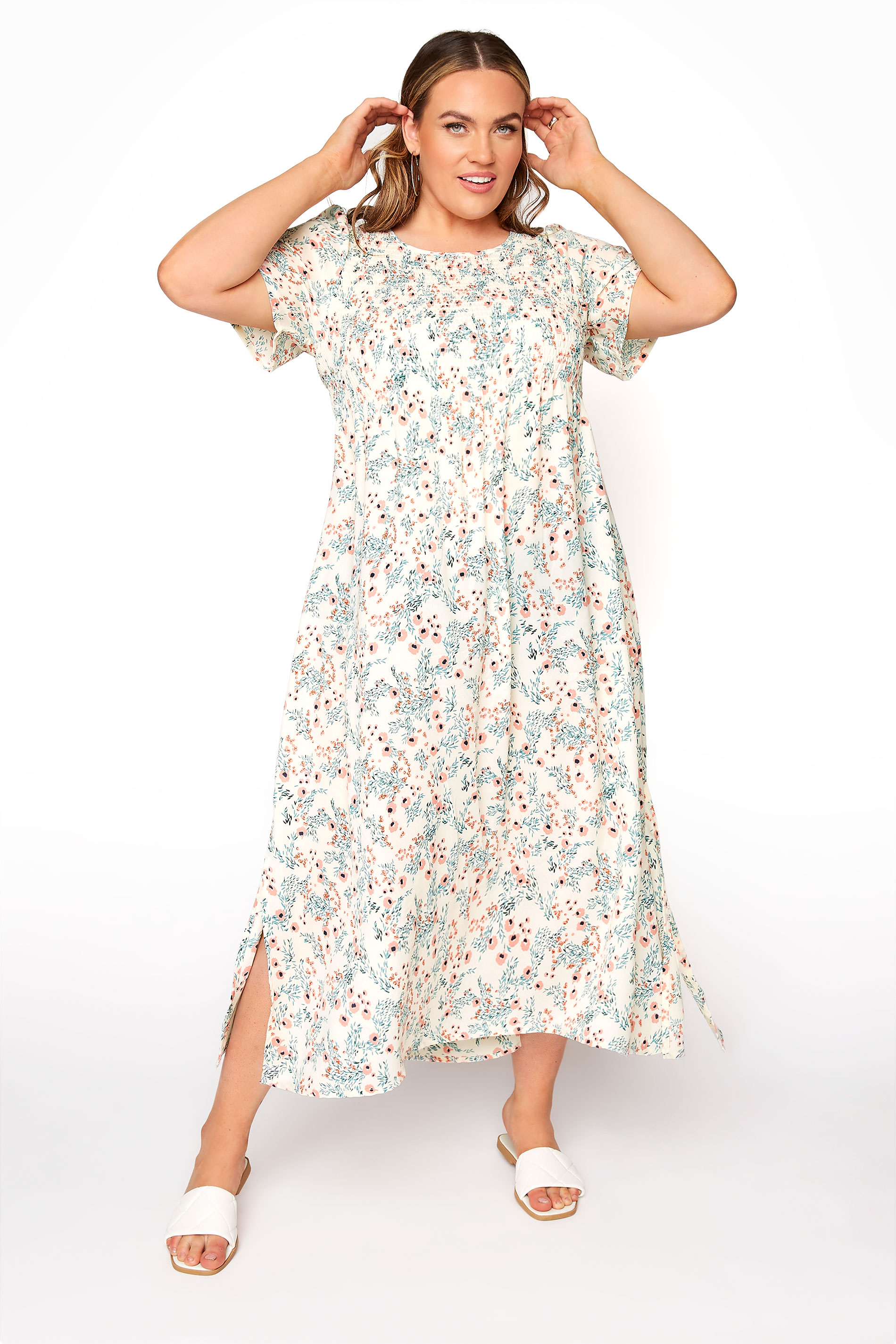 LIMITED COLLECTION White Floral Shirred Maxi Dress_A.jpg