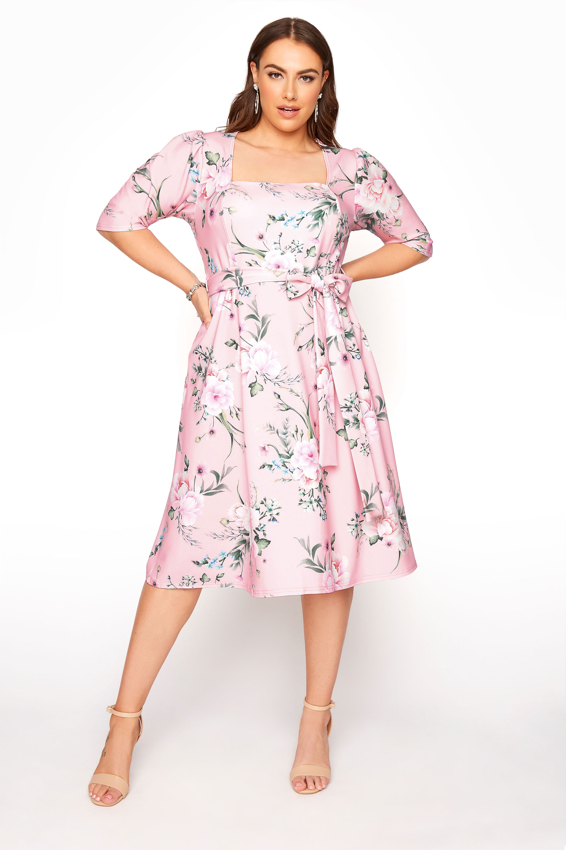 YOURS LONDON Pink Floral Square Neck Dress