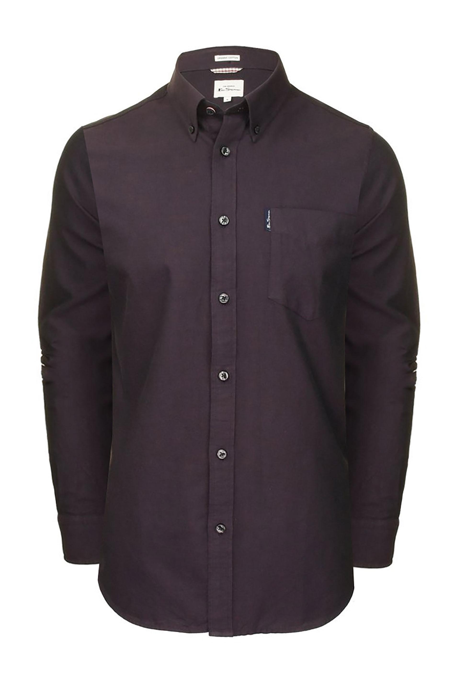 BEN SHERMAN Dark Purple Signature Long Sleeve Oxford Shirt