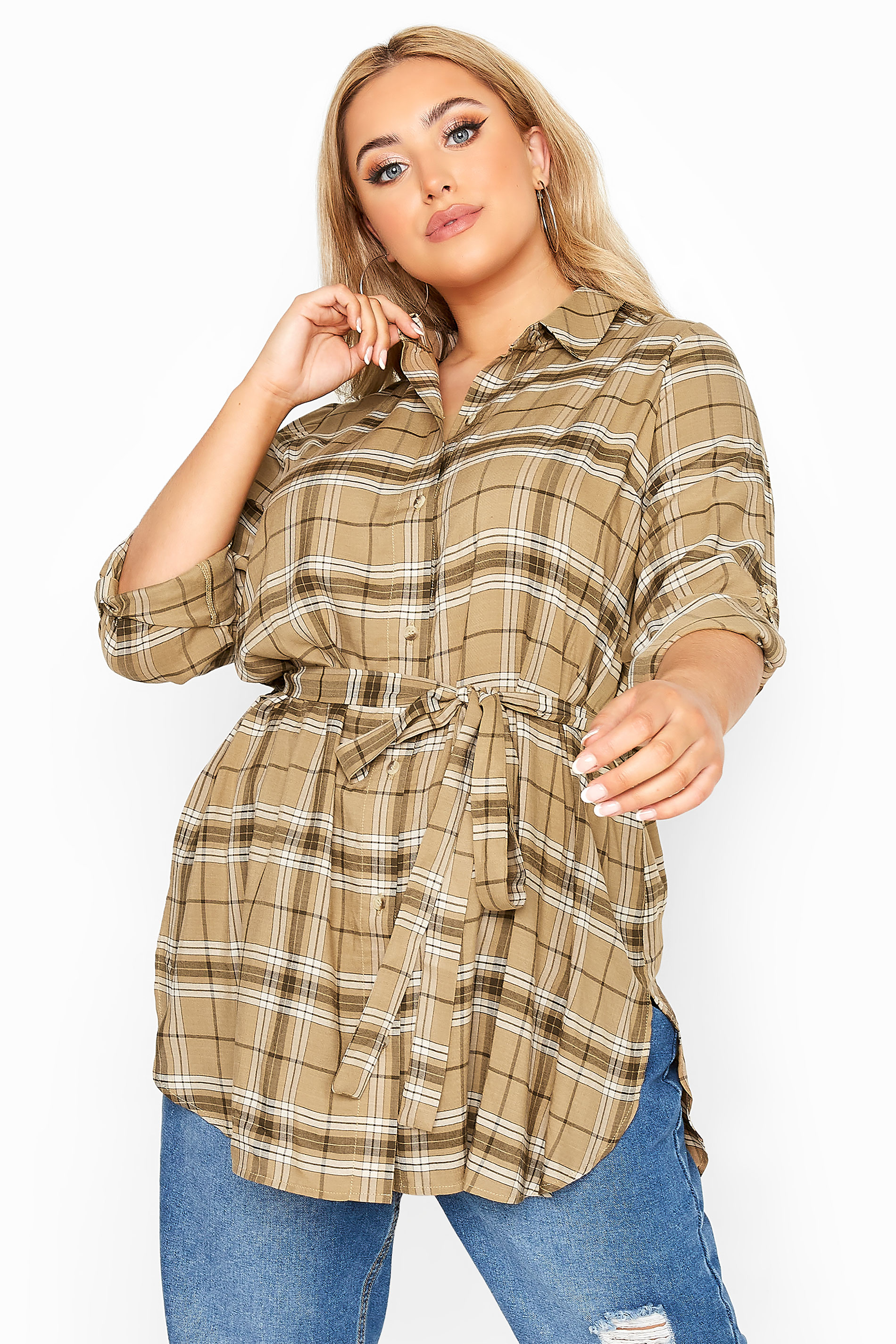LIMITED COLLECTION Beige Belted Check Shirt