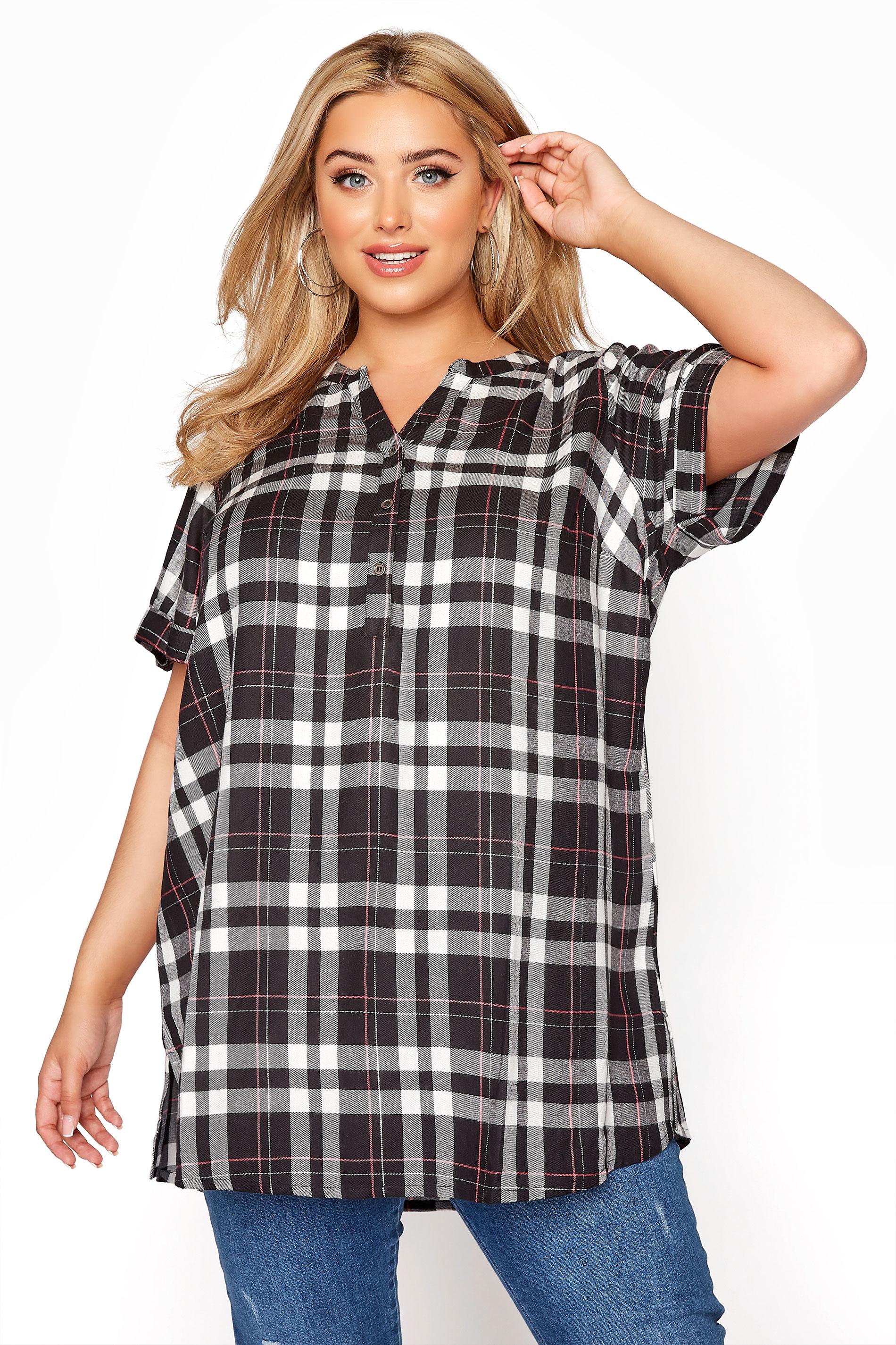 Black Grown On Sleeve Check Shirt_A.jpg