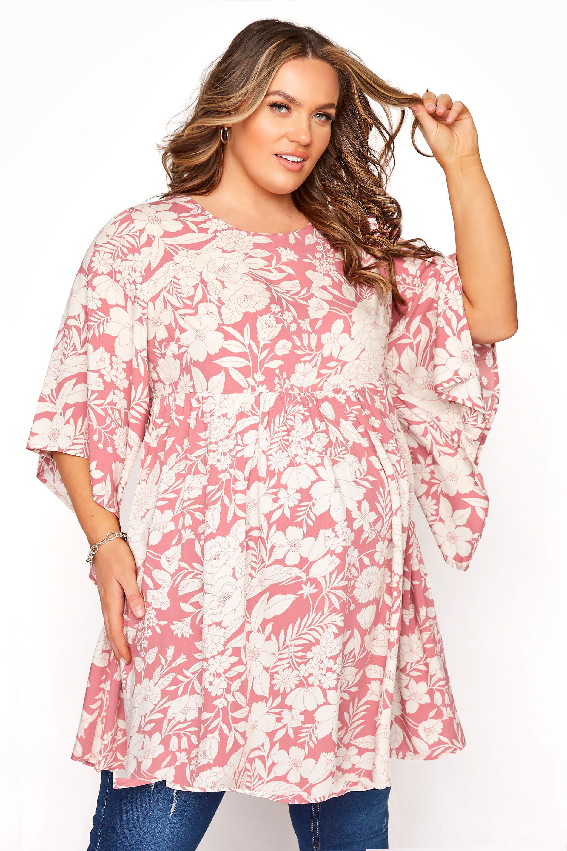 BUMP IT UP MATERNITY Pink Floral Smock Tunic_A.jpg