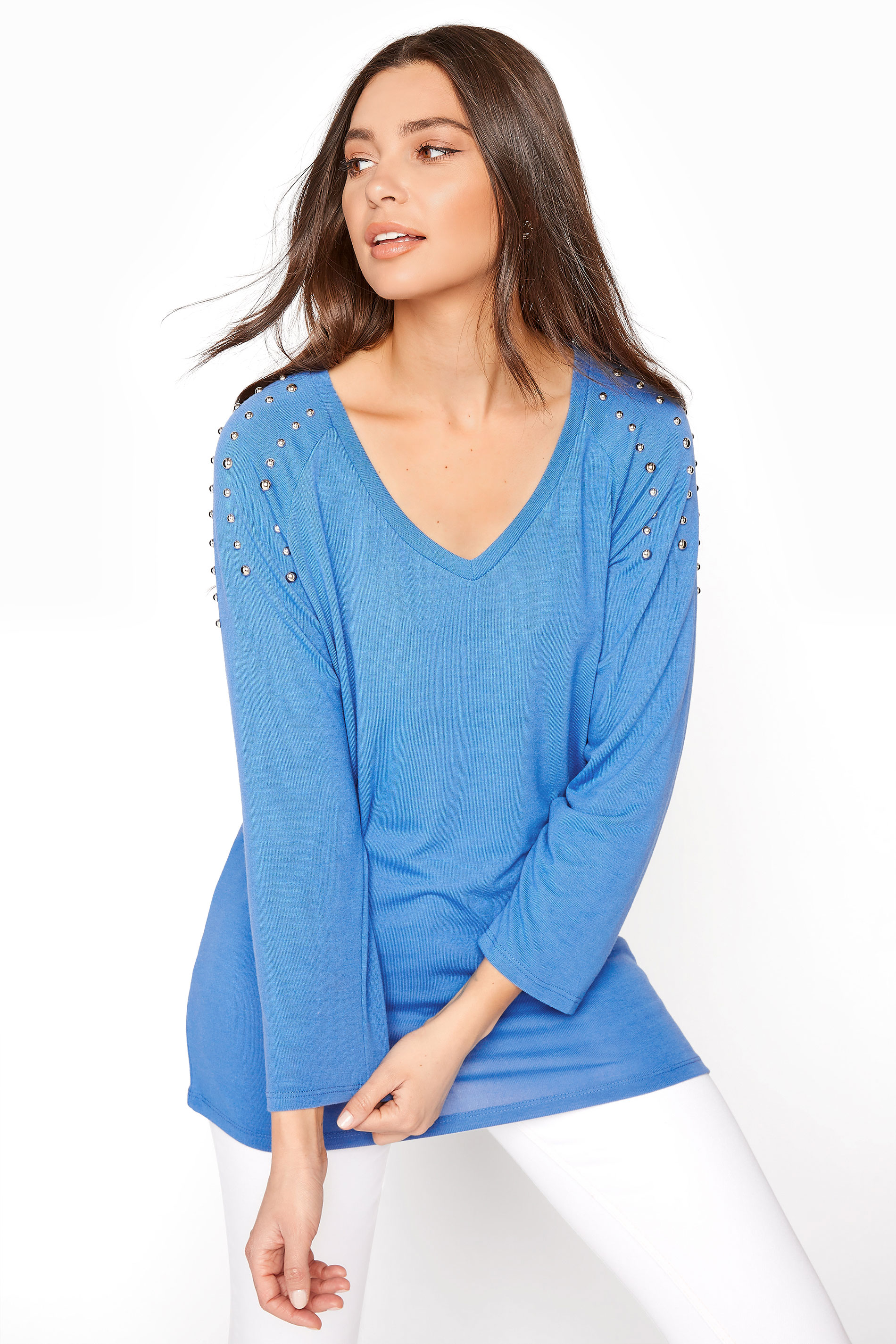 LTS Blue Shoulder Trim Top
