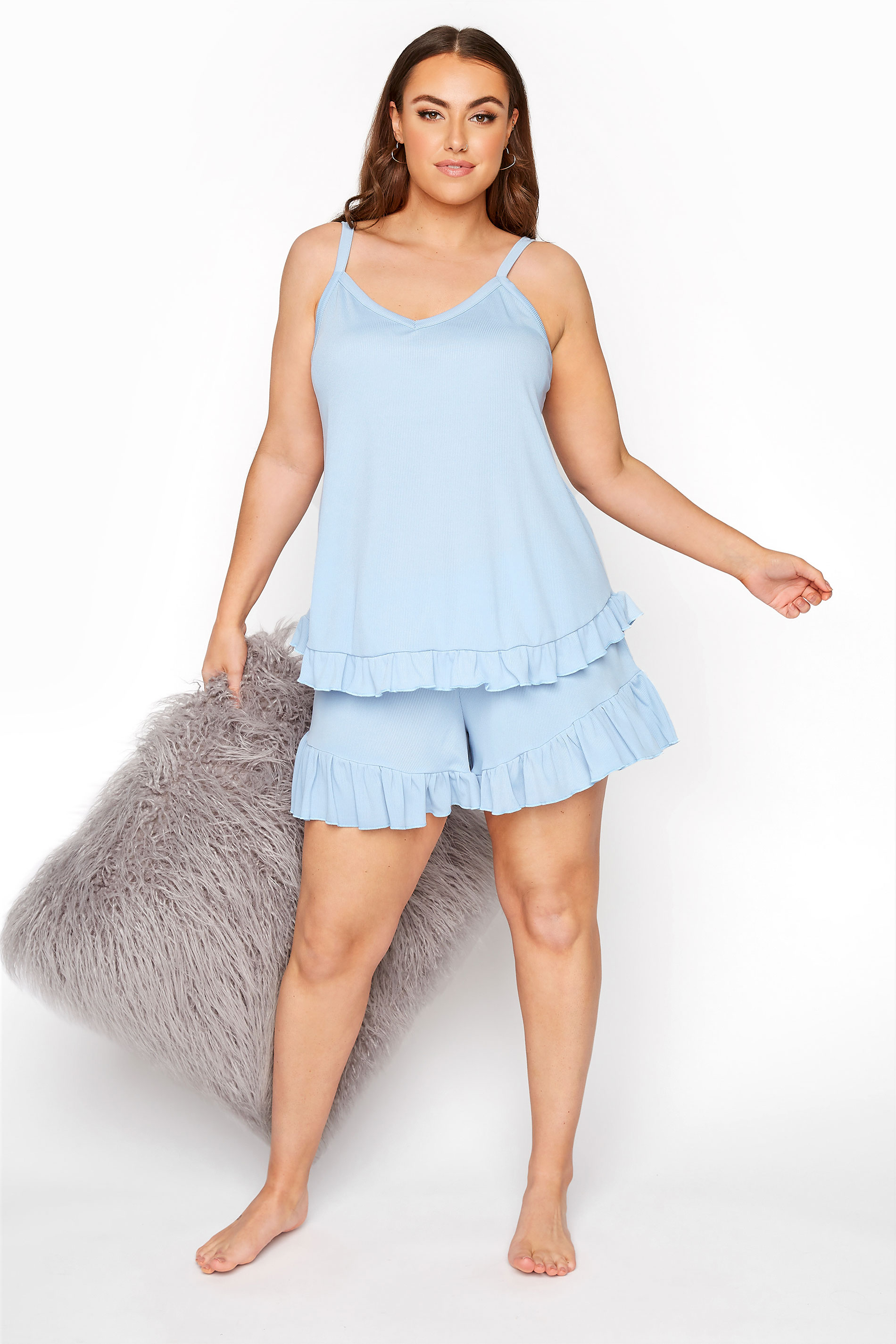LIMITED COLLECTION Light Blue Frill Ribbed Pyjama Shorts_A.jpg