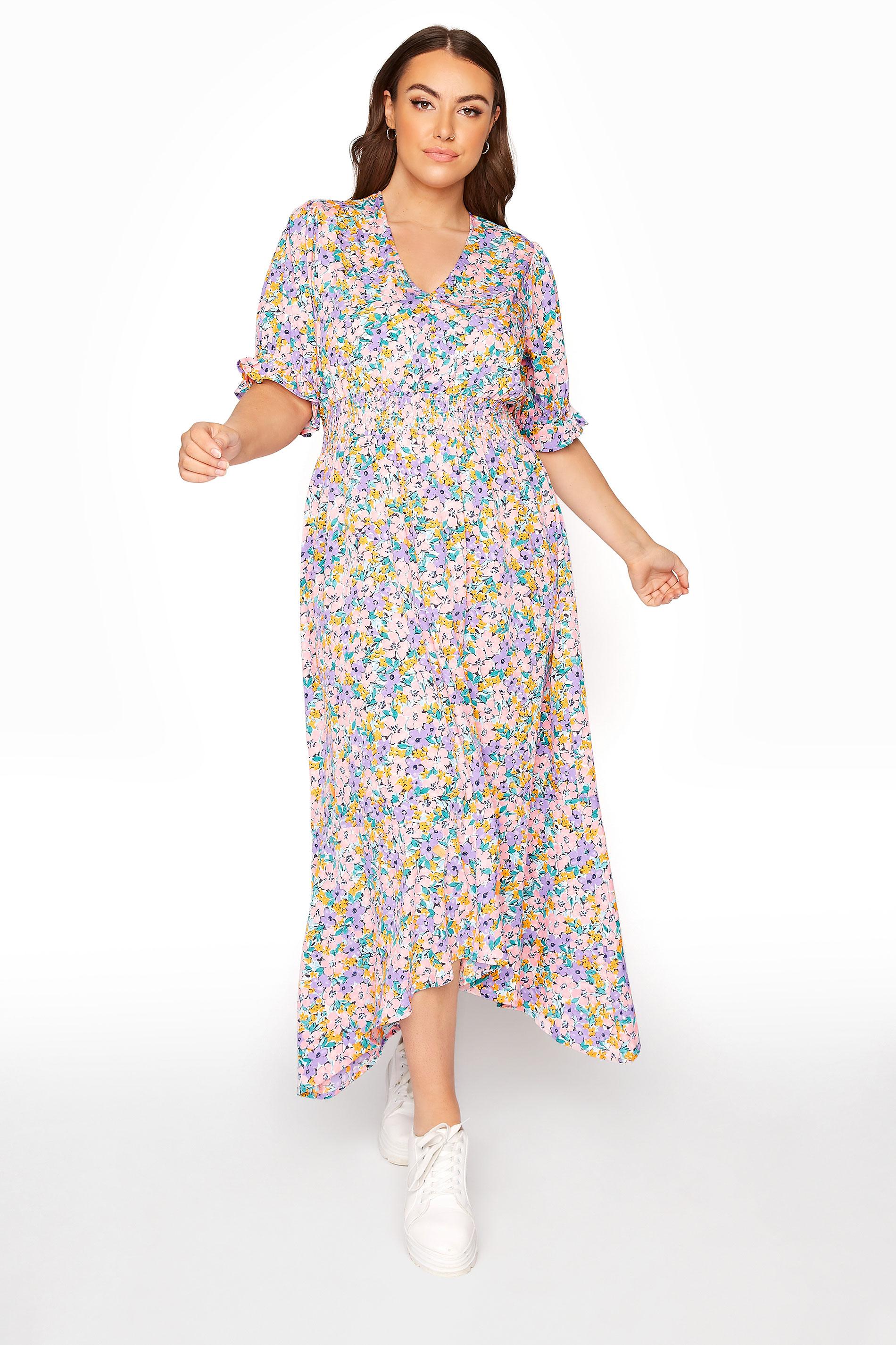 LIMITED COLLECTION Multi Floral Hanky Hem Midi Dress