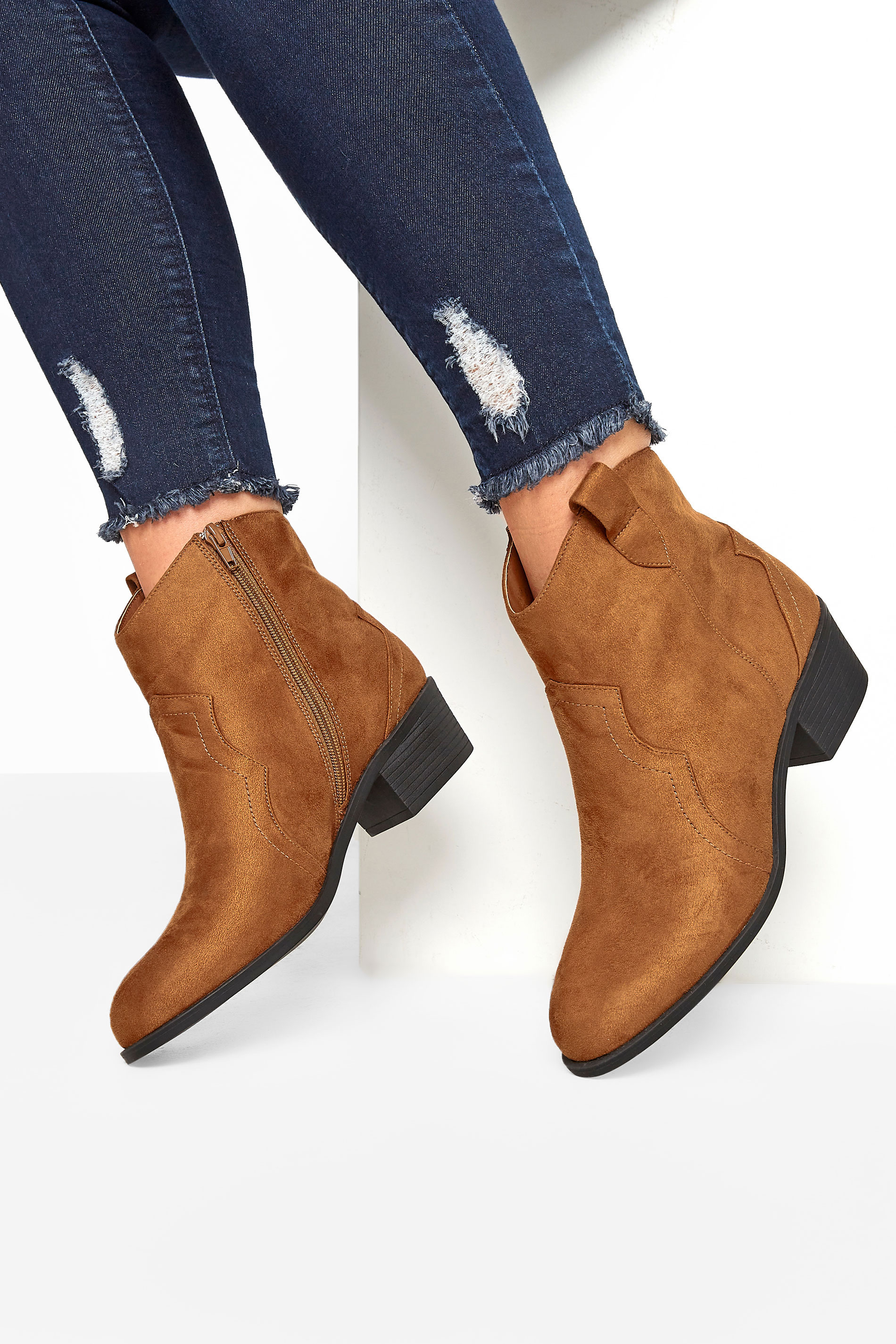Yours Tan Vegan Faux Suede Western Ankle Boots In Extra Wide Fit