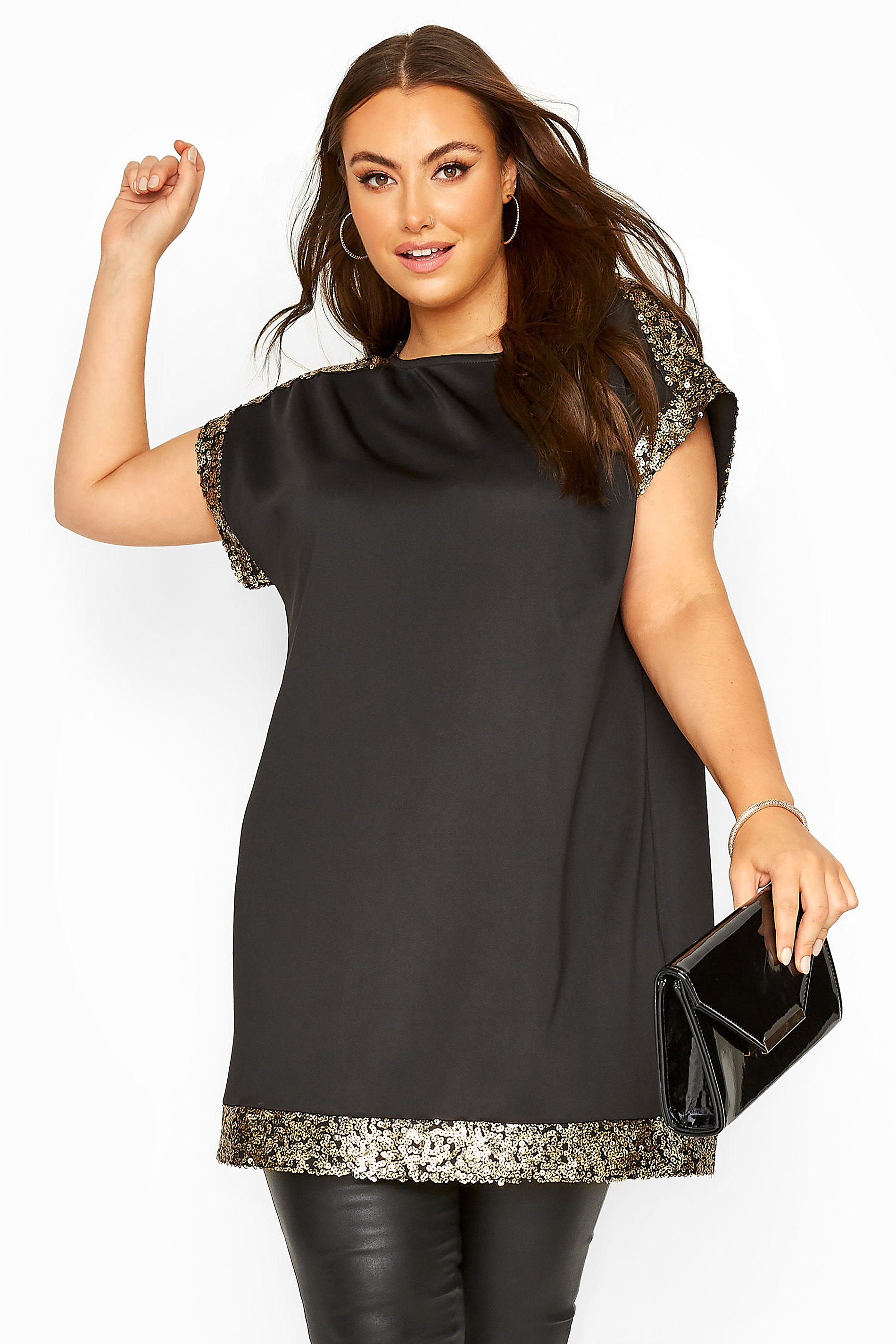 Black & Gold Sequin Trim Tunic Dress