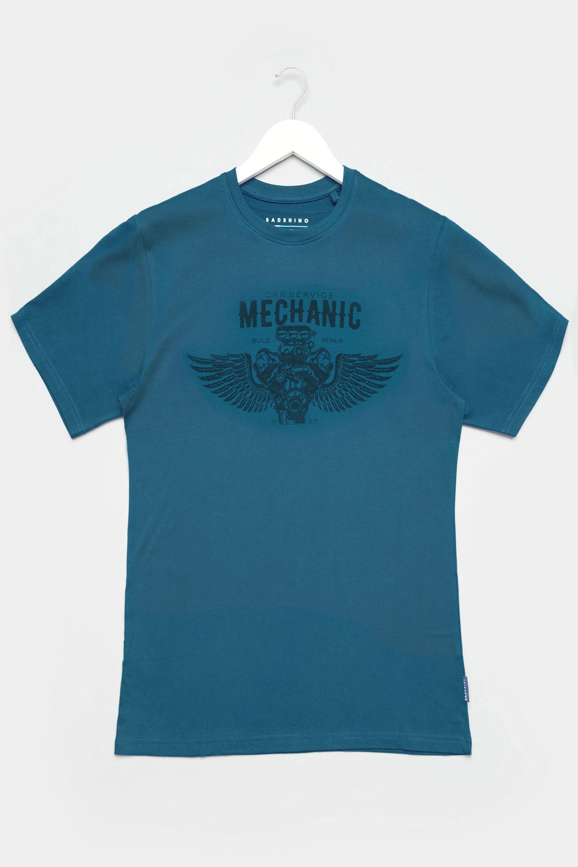 BadRhino Ocean Blue Mechanic Graphic Print T-Shirt