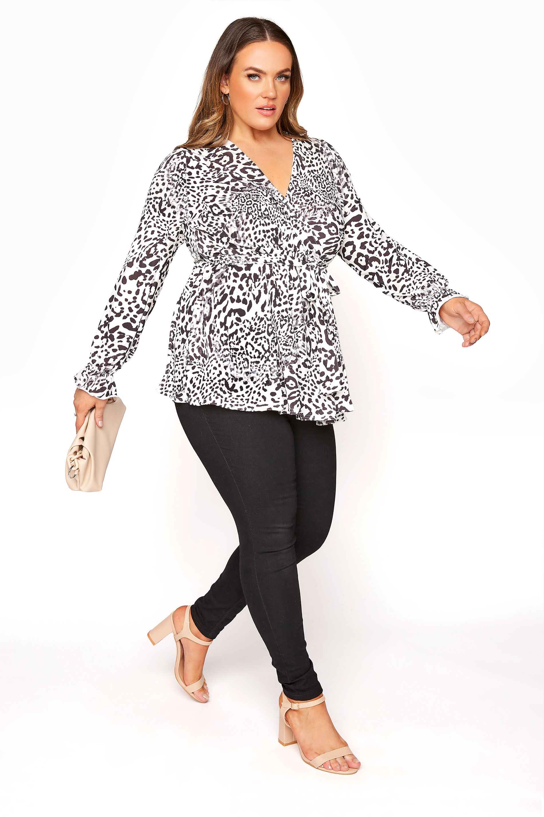 YOURS LONDON White Leopard Print Wrap Top