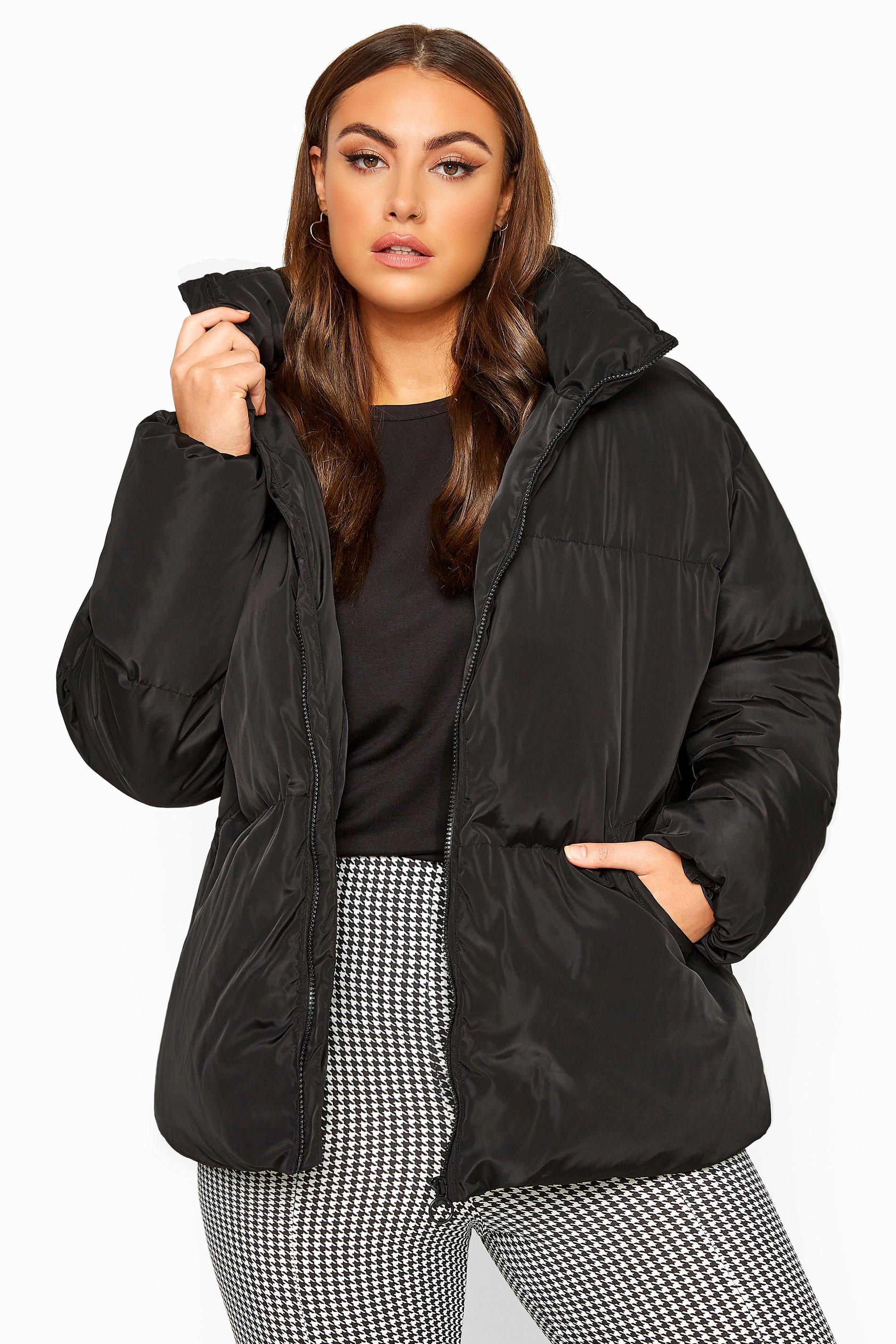Black Cropped Puffer Jacket