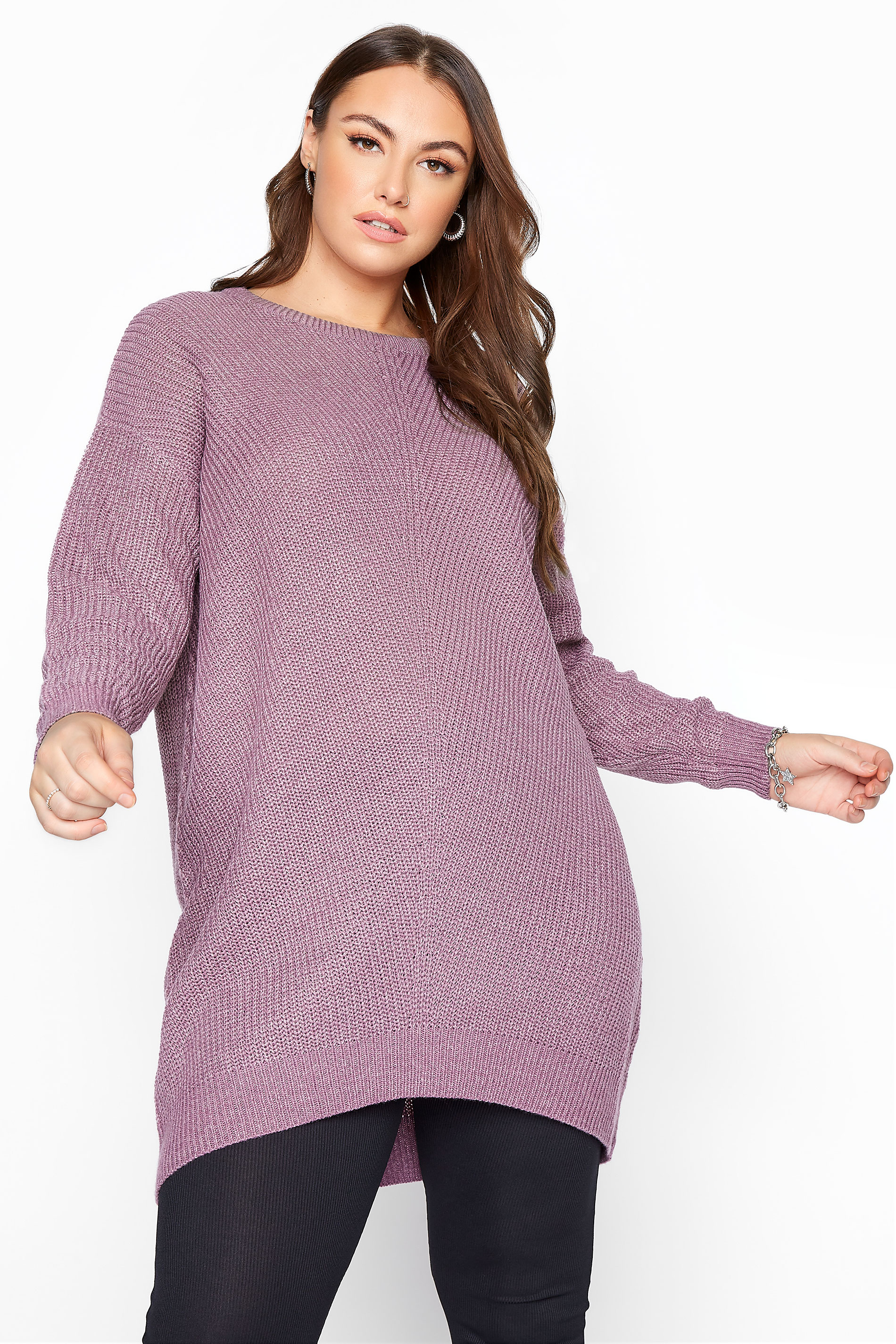 Mauve Purple Chunky Knitted Jumper