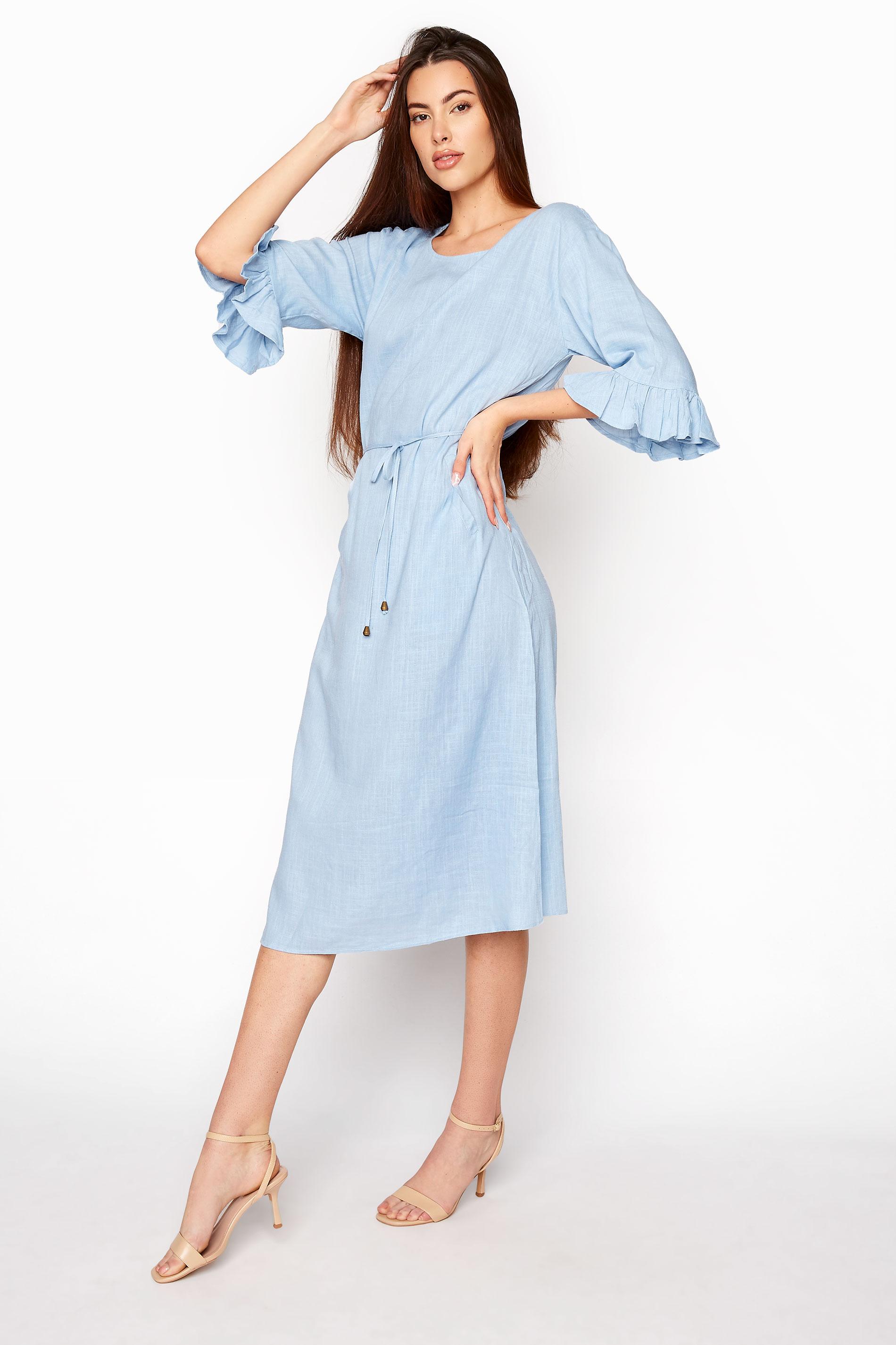 LTS Blue Frill Sleeve Midi Dress