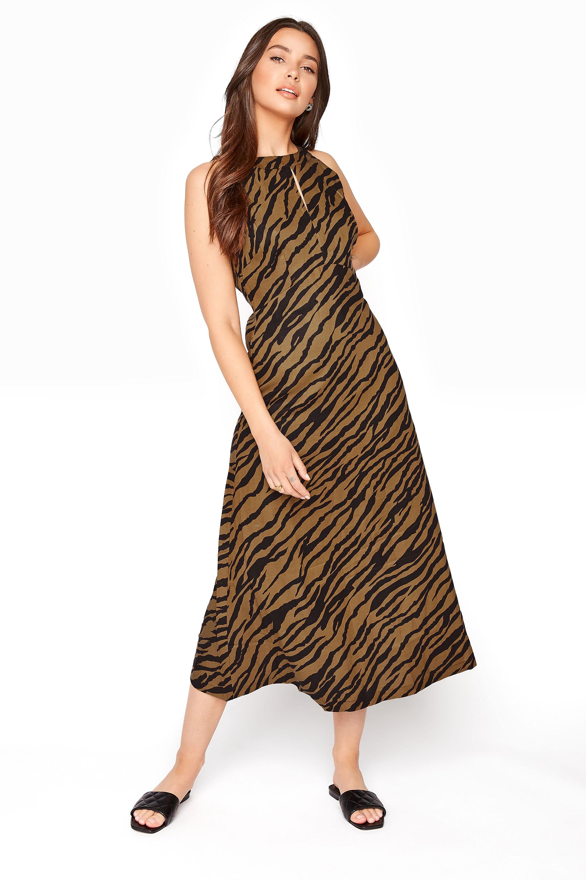 Brown Animal Print Linen Blend Keyhole Dress_A.jpg