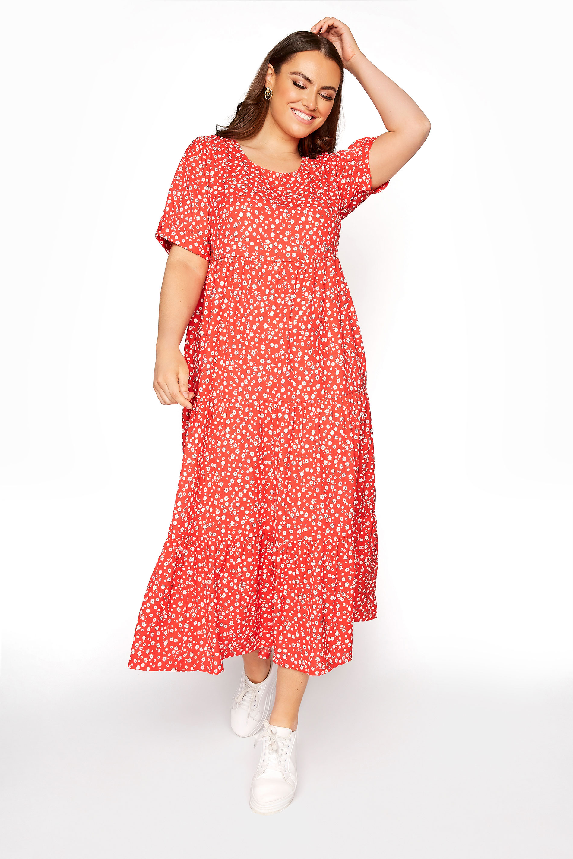 LIMITED COLLECTION Red Daisy Print Tiered Maxi Dress_E.jpg