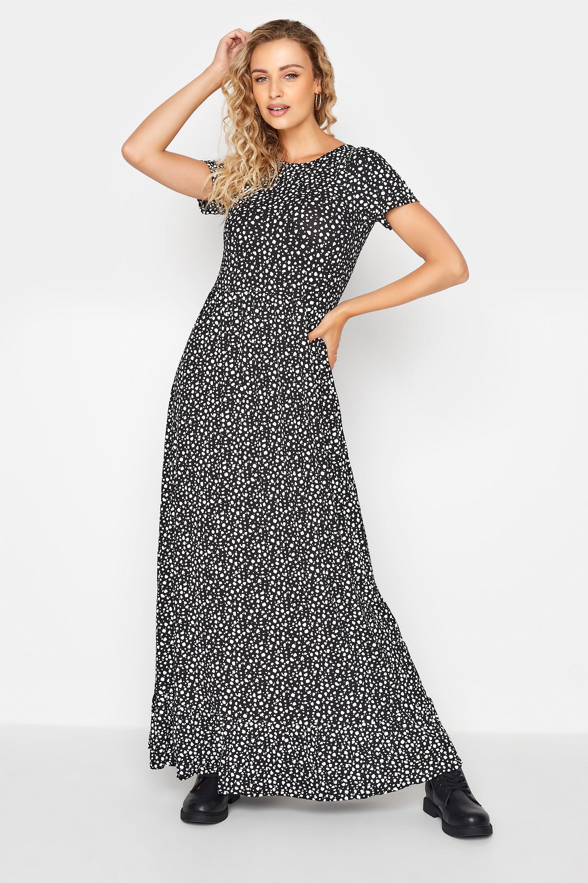 LTS Black Dalmatian Print Midaxi Dress
