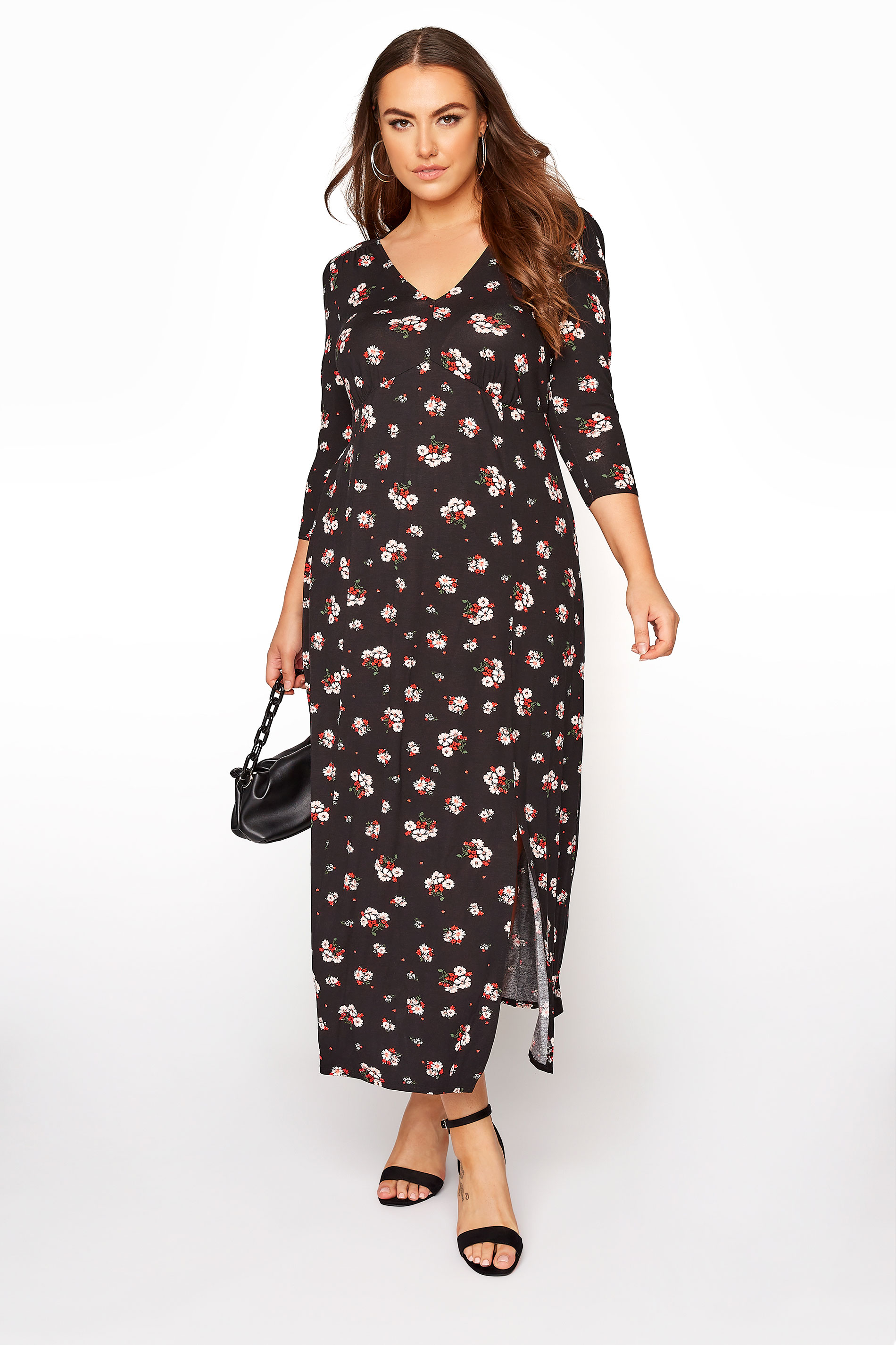 YOURS LONDON Black Floral Side Split Midaxi Dress_B.jpg