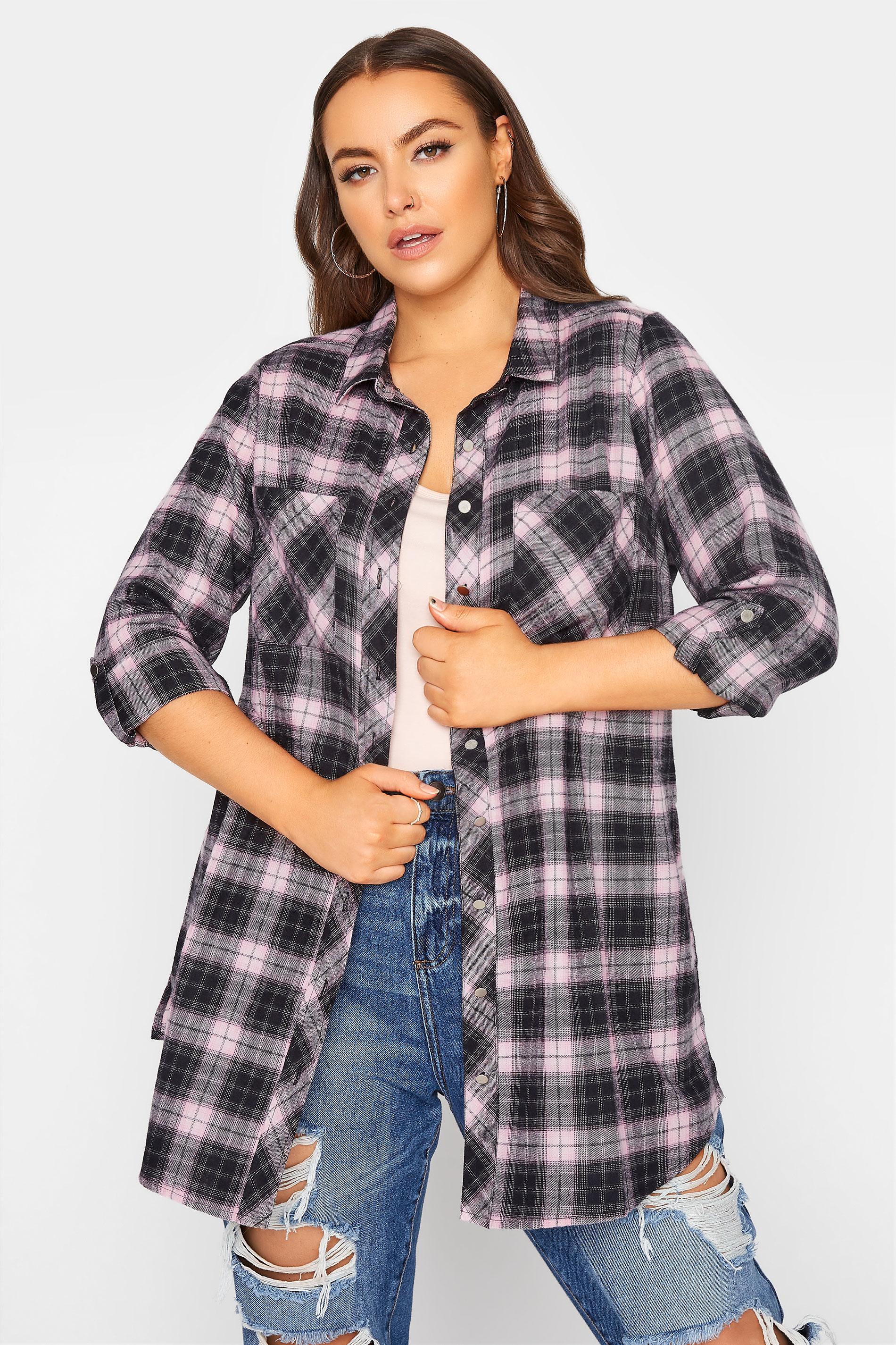 Black & Pink Check Cotton Boyfriend Shirt_A.jpg