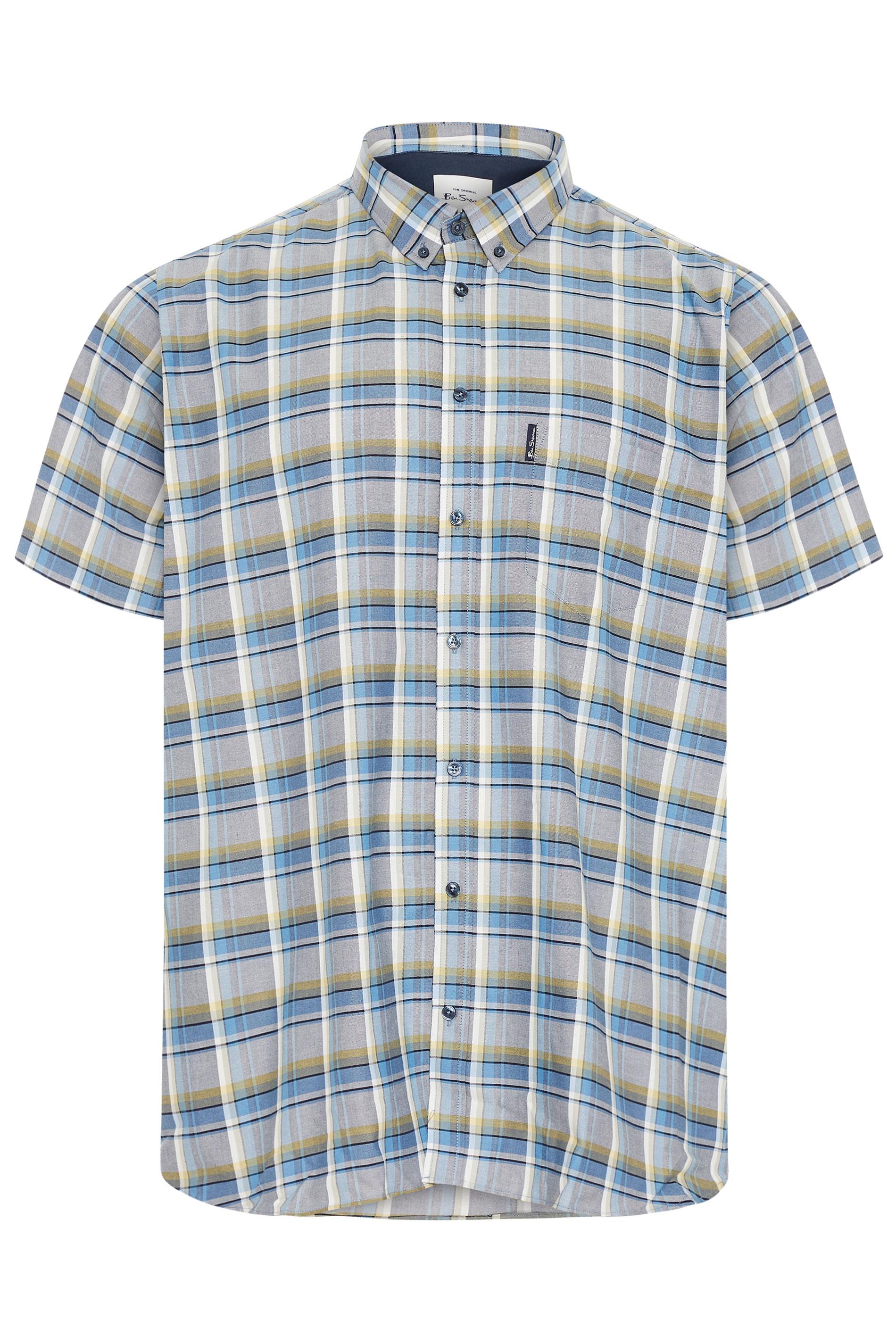 BEN SHERMAN Blue & Yellow Check Short Sleeve Shirt