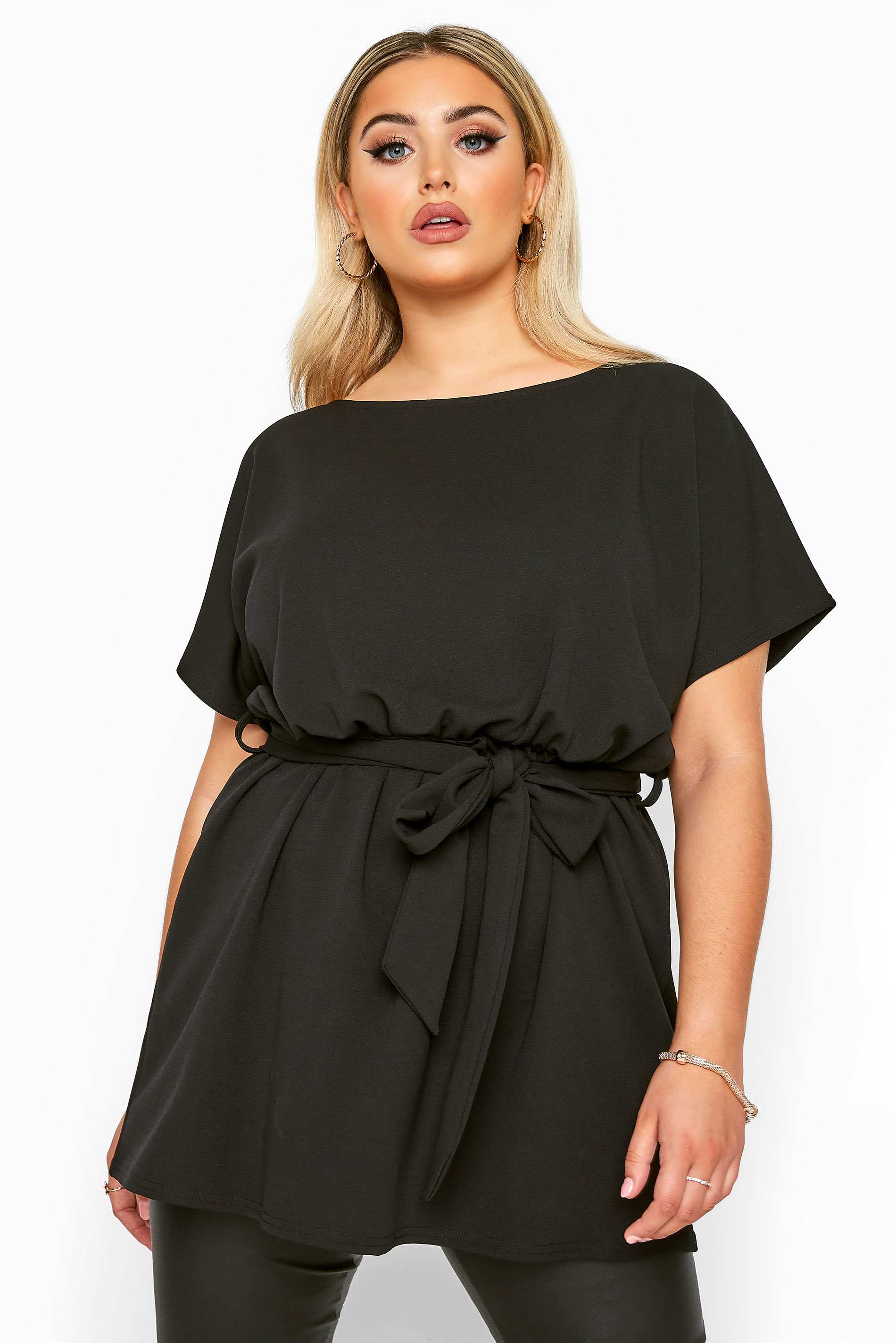 YOURS LONDON Black Belted Peplum Top