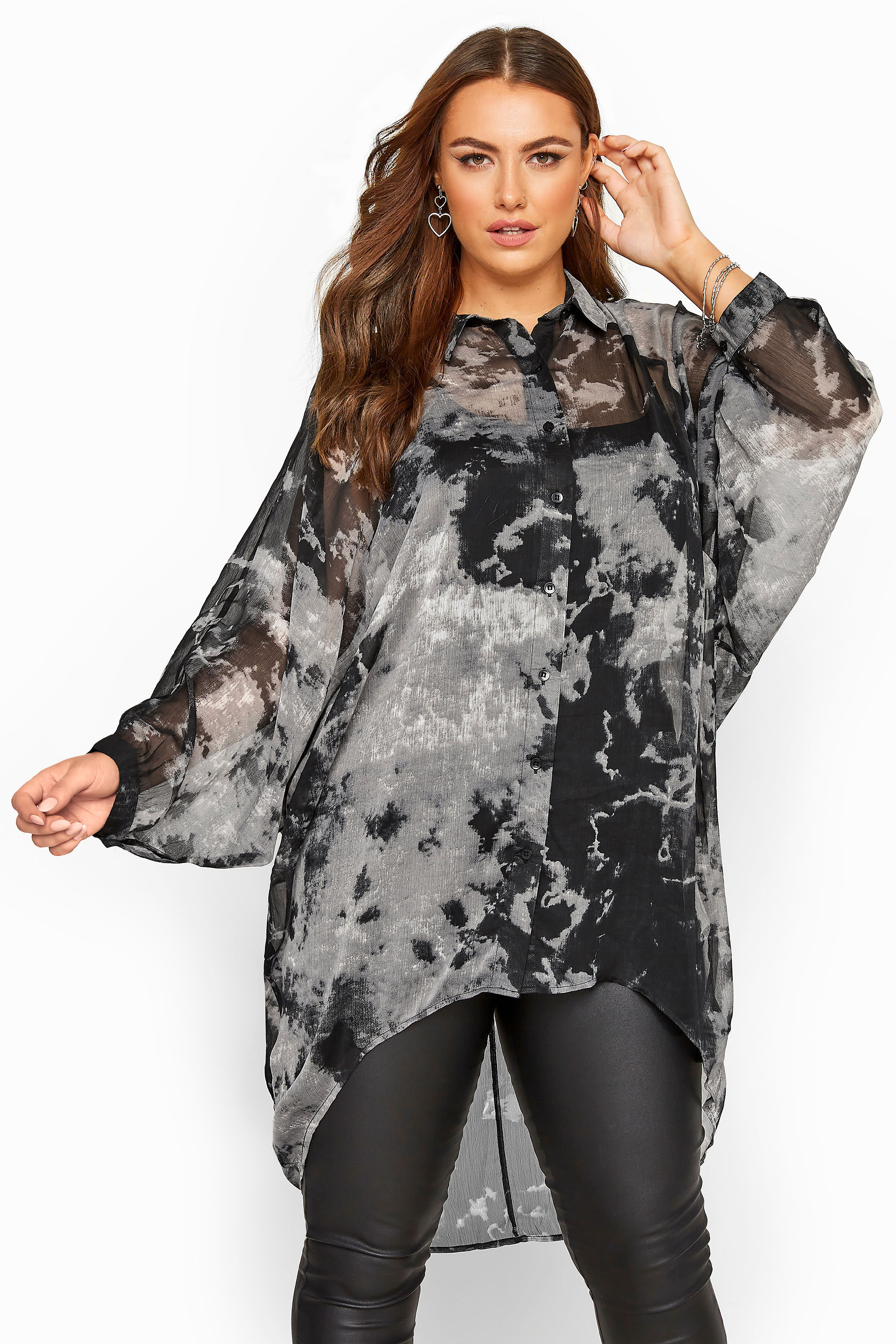 Grey Tie Dye Chiffon Oversized Shirt