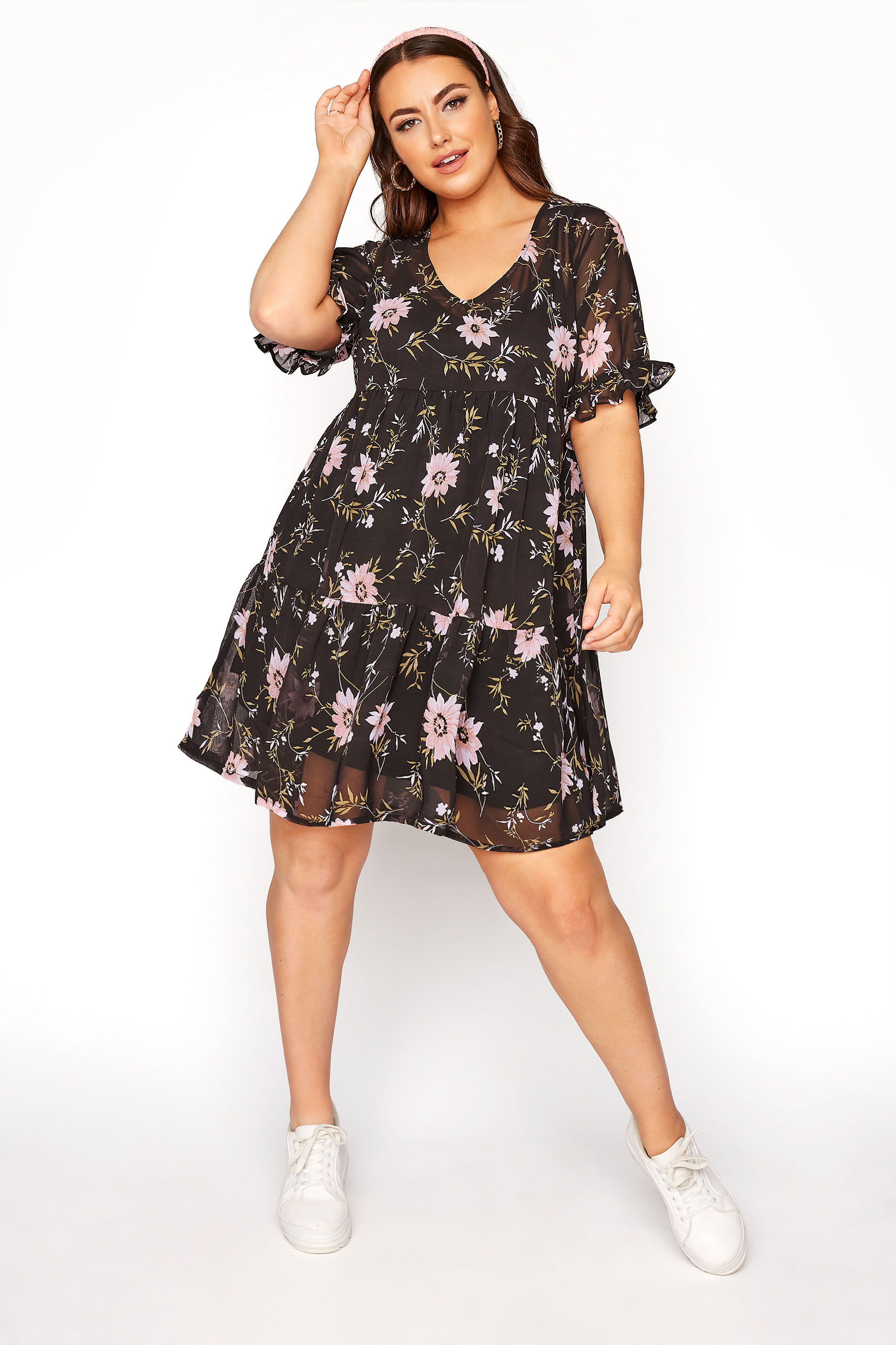 LIMITED COLLECTION Black Floral Tier Smock Dress