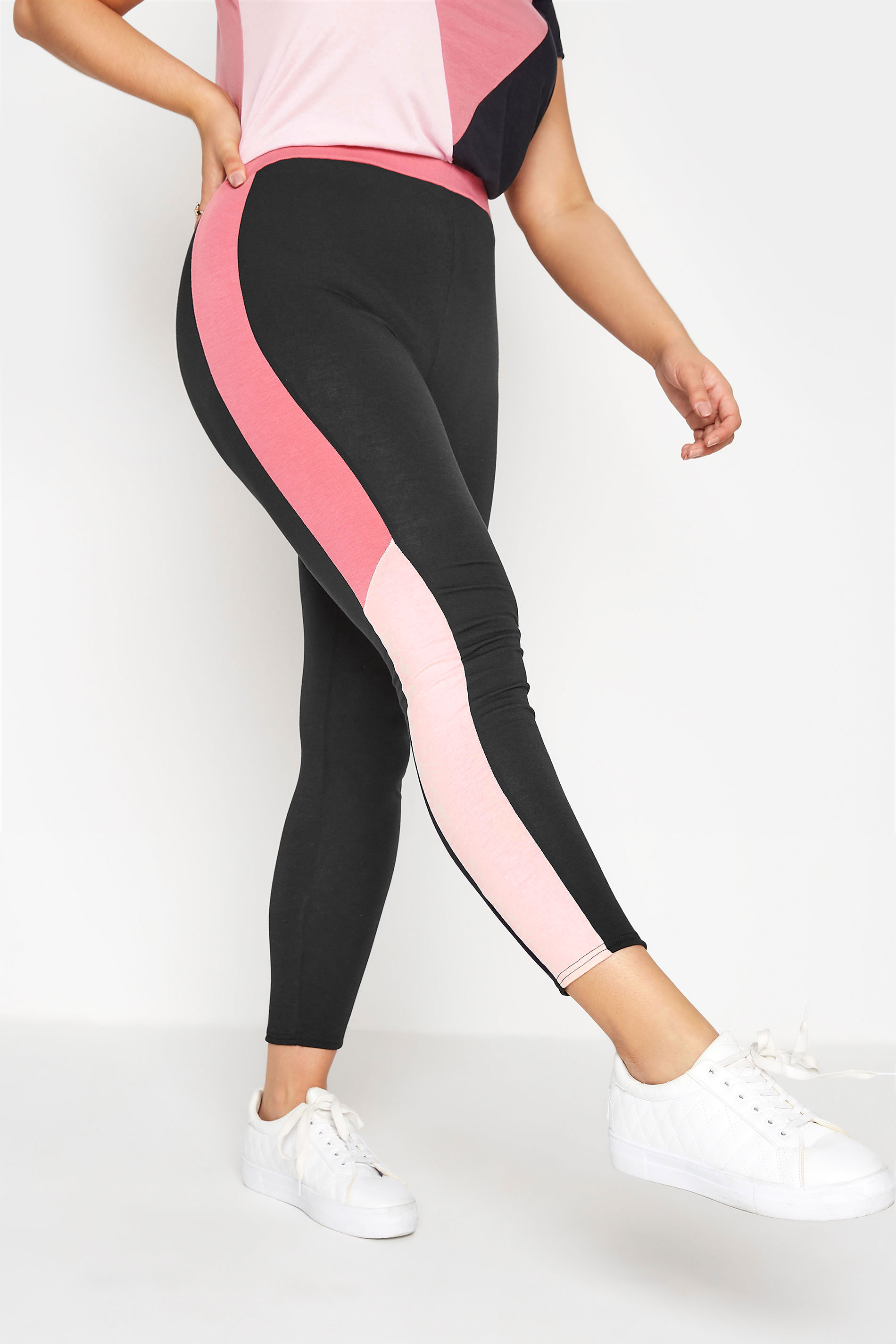 LIMITED COLLECTION Black & Pink Colour Block Leggings_B.jpg