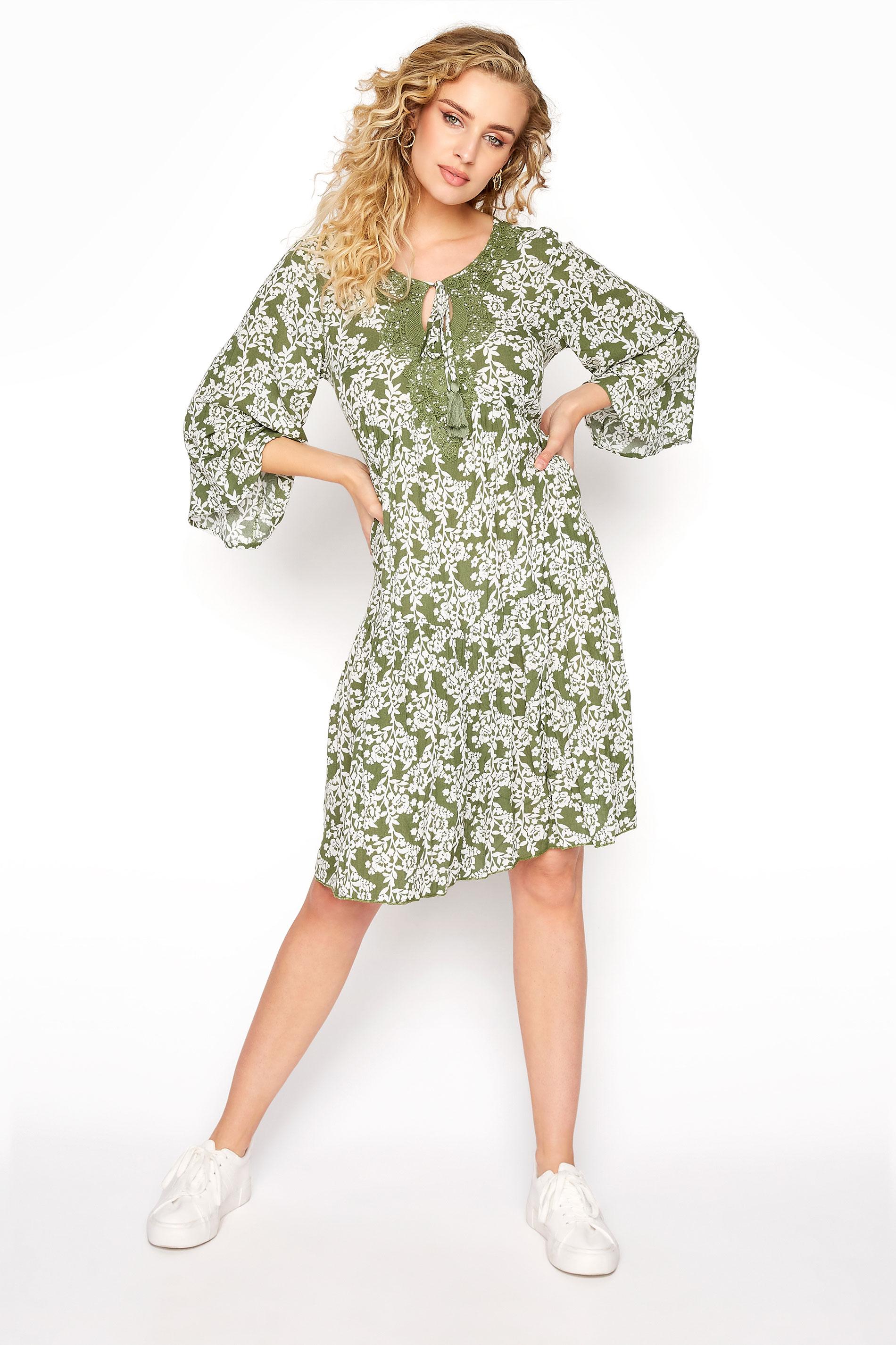 LTS Khaki Floral Crochet Tie Front Tunic
