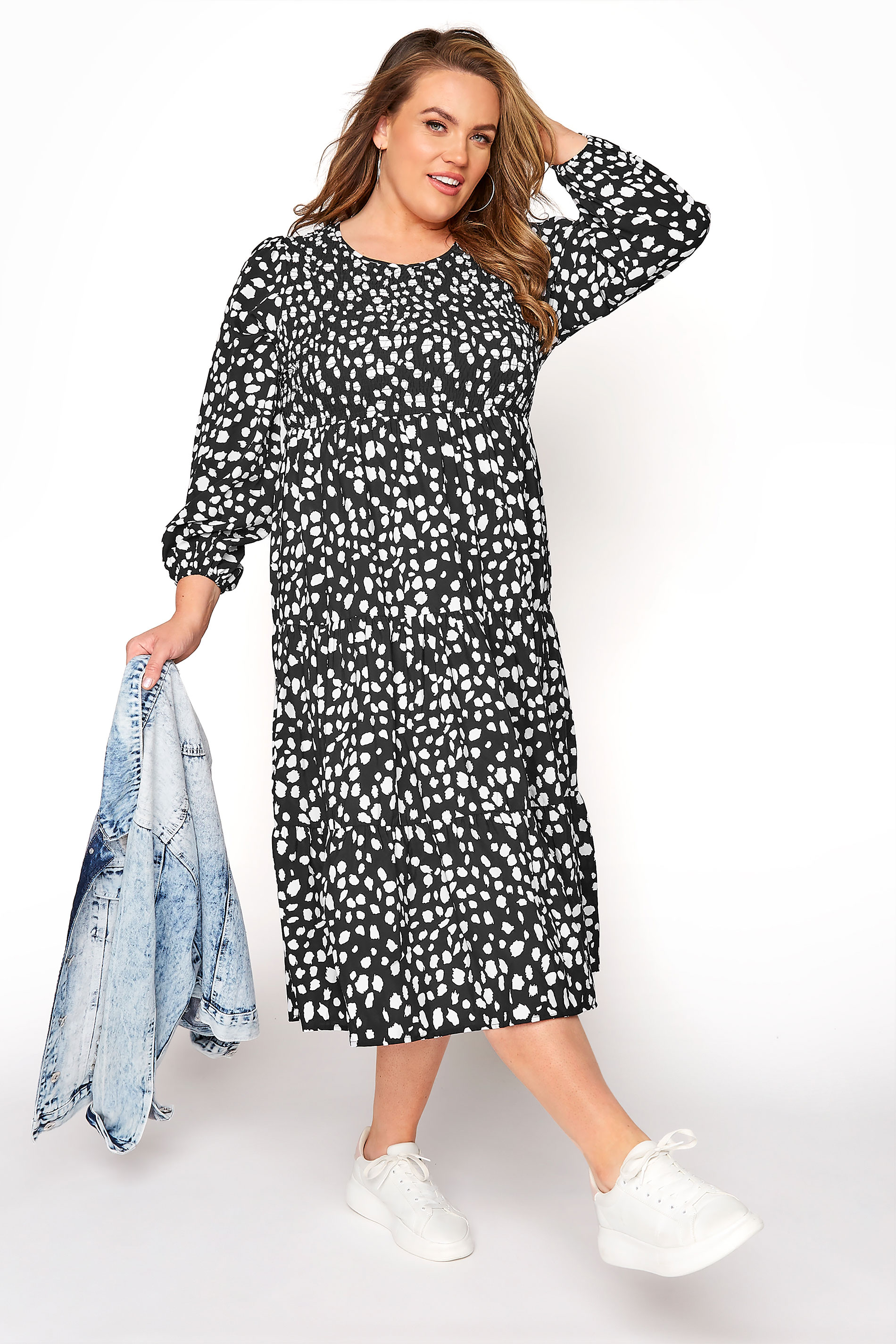 Black Dalmatian Balloon Sleeve Midi Dress