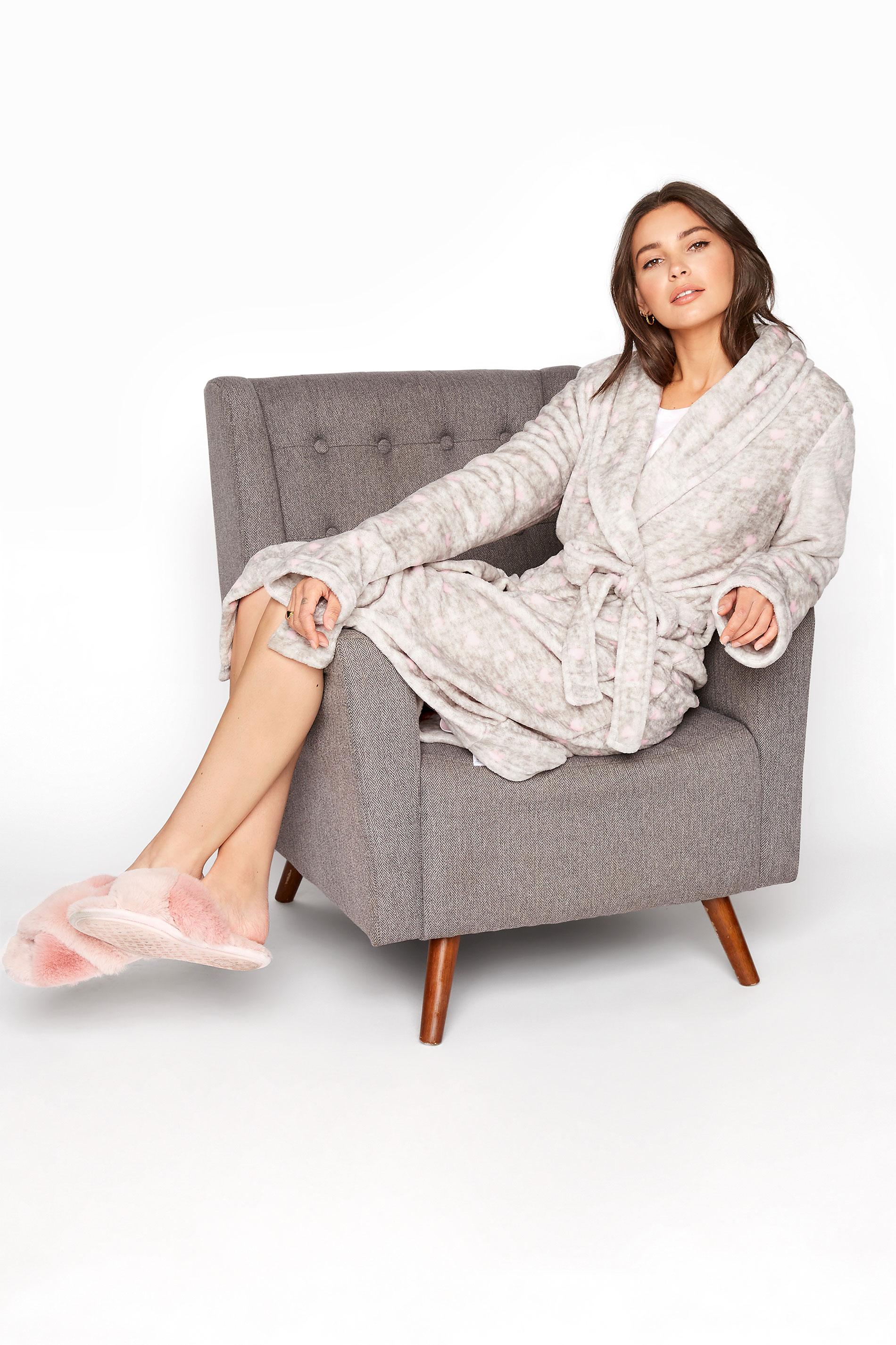 LTS Grey Heart Print Dressing Gown