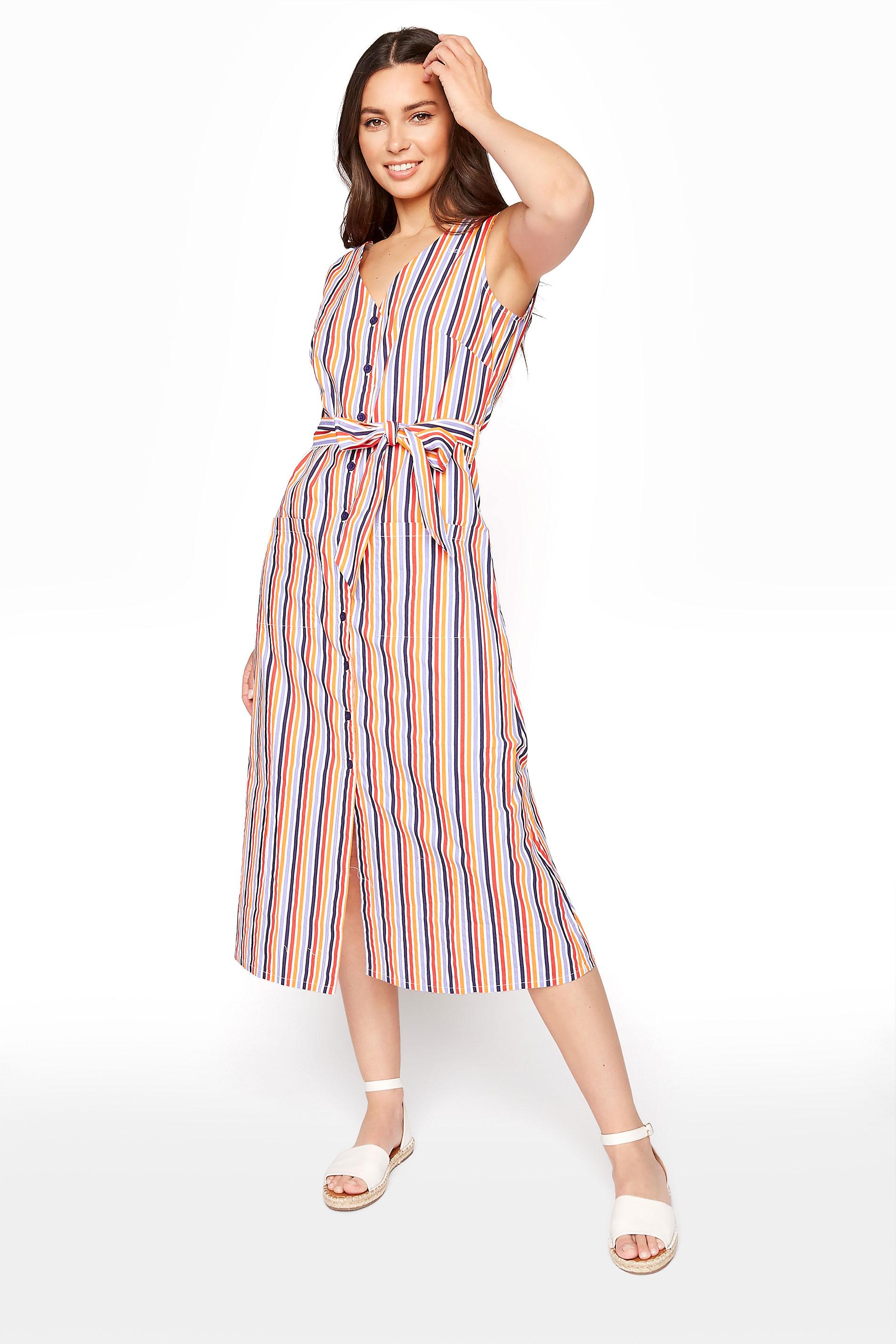 Multicoloured Stripe Cotton Fit And Flare Dress