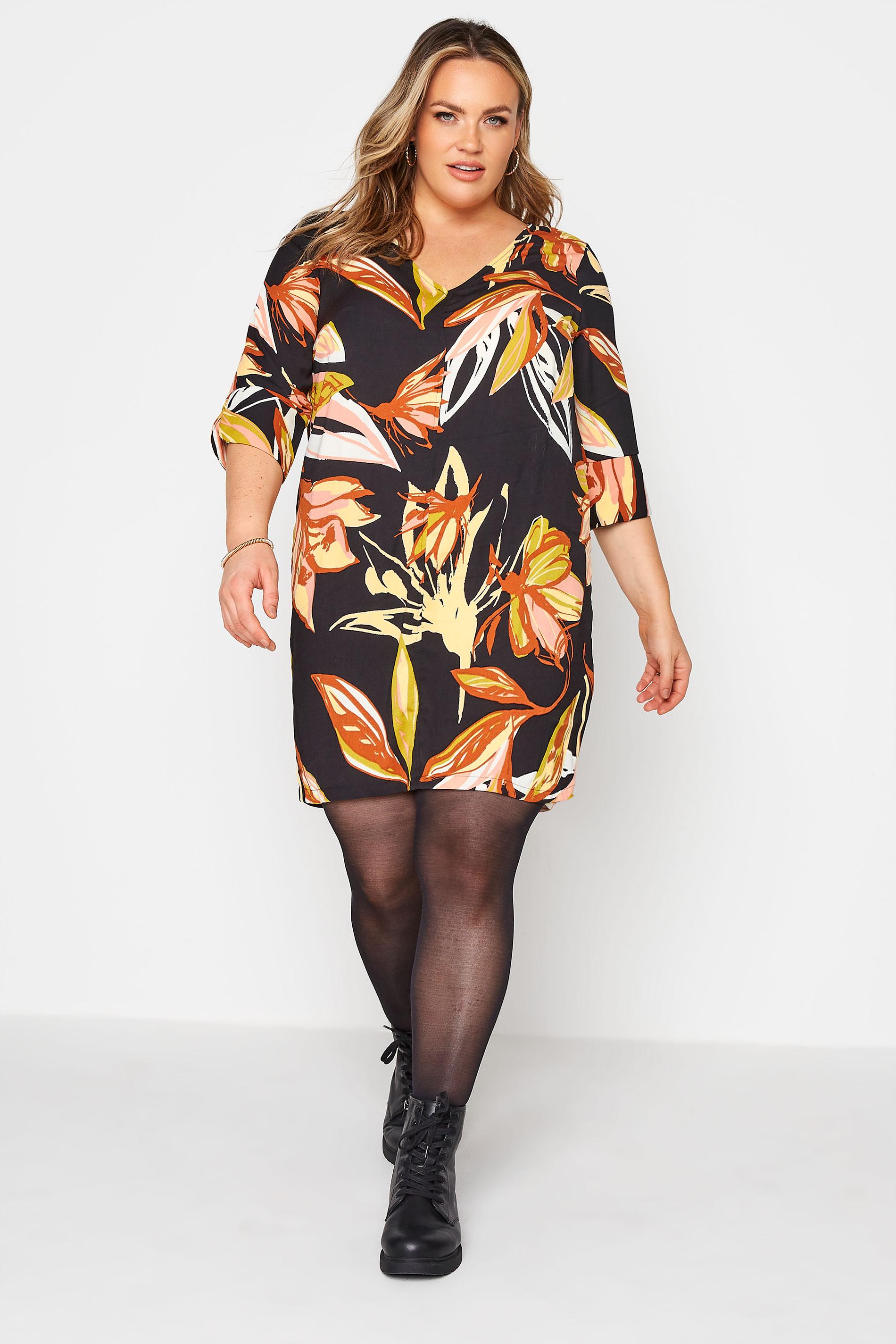Black Leaf Print V-Neck Shift Dress_A.jpg