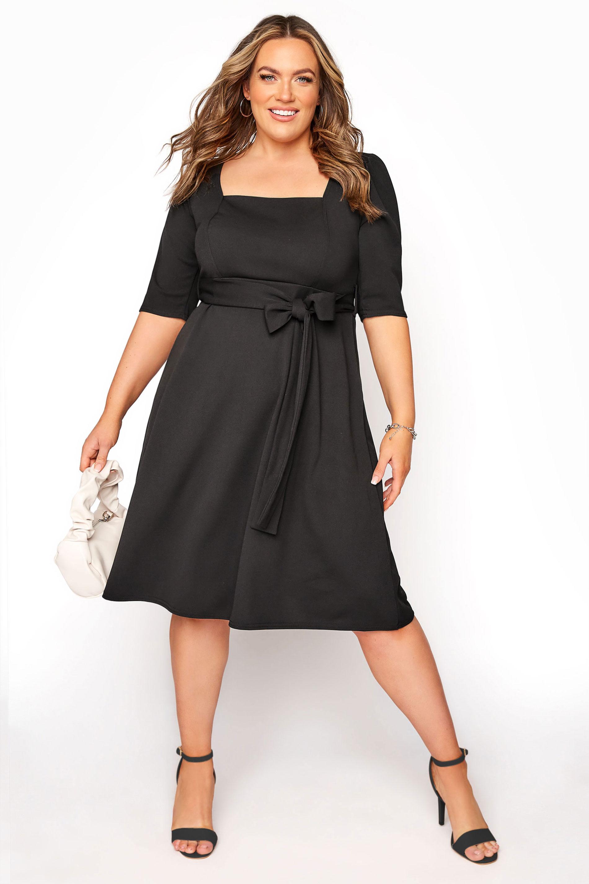 YOURS LONDON Black Square Neck Midi Dress