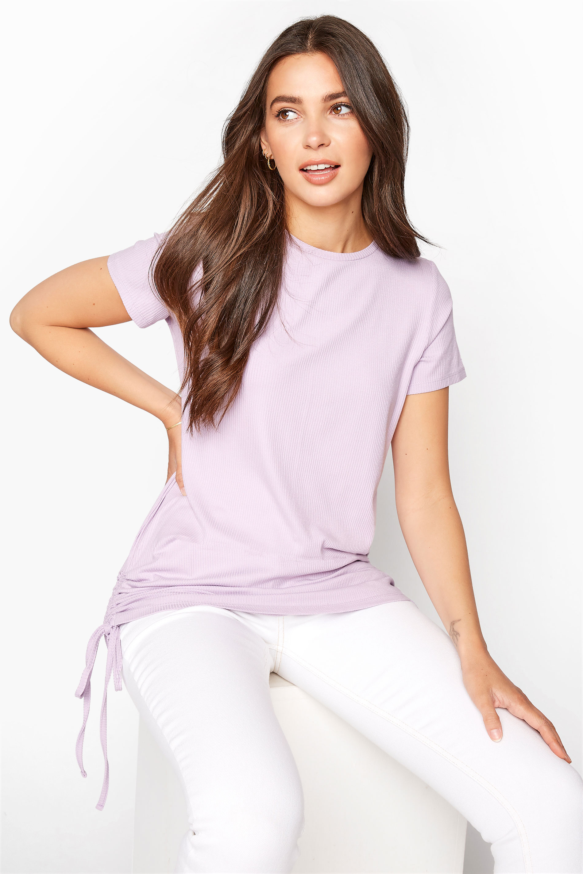 LTS Lilac Ribbed Ruched Side Tunic