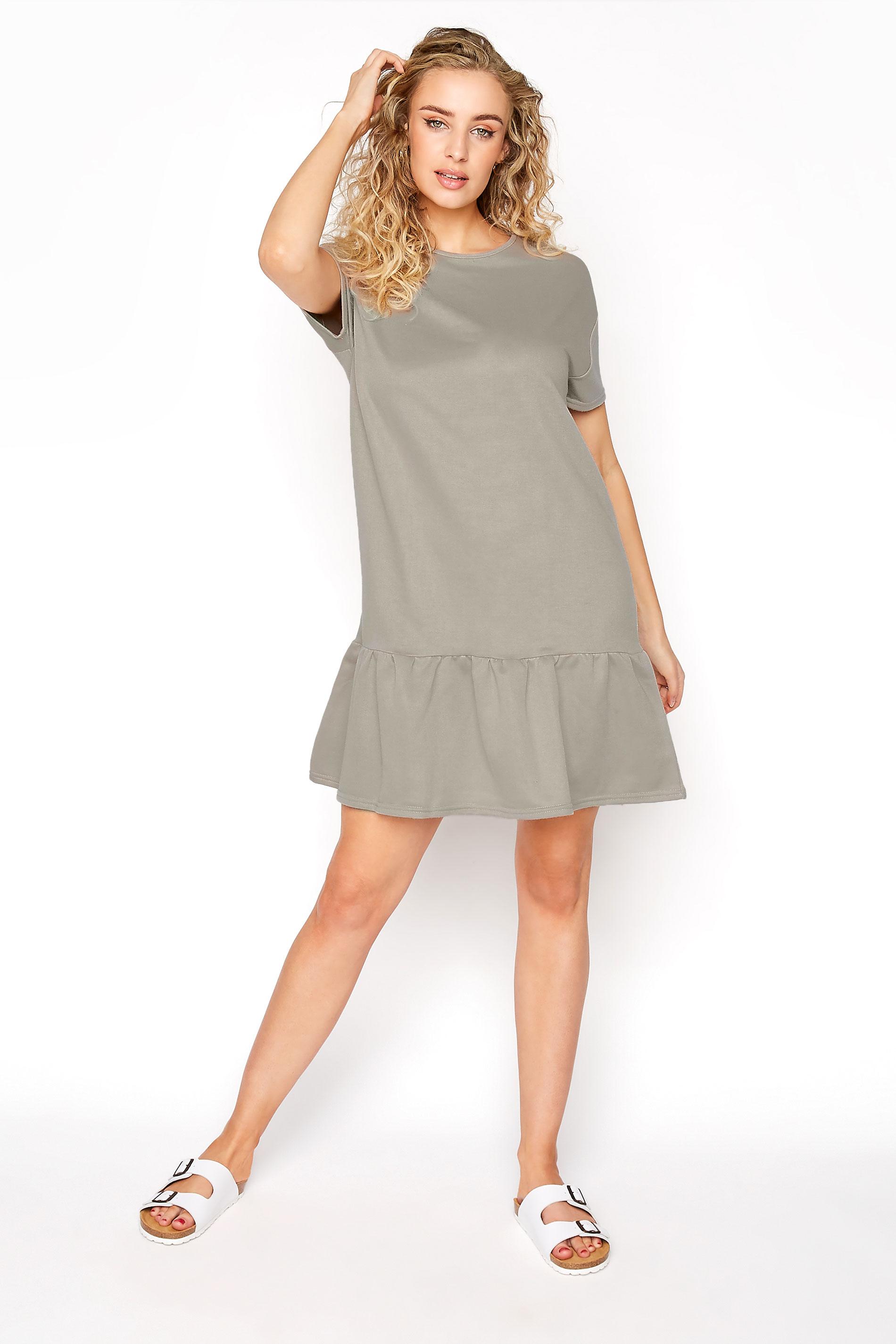 LTS Khaki Jersey Sweat Frill Hem Dress