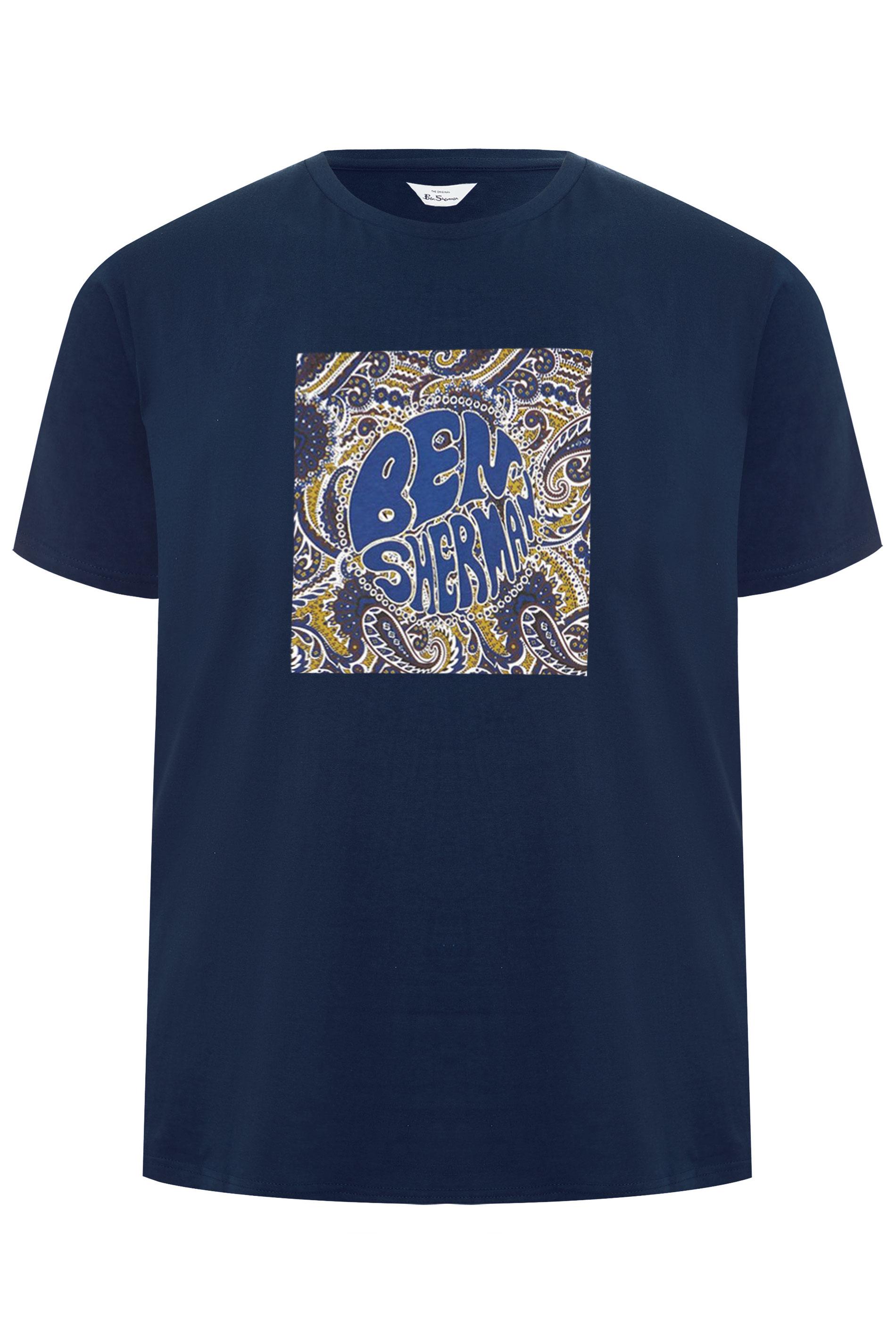BEN SHERMAN Navy Logo Graphic Print T-Shirt