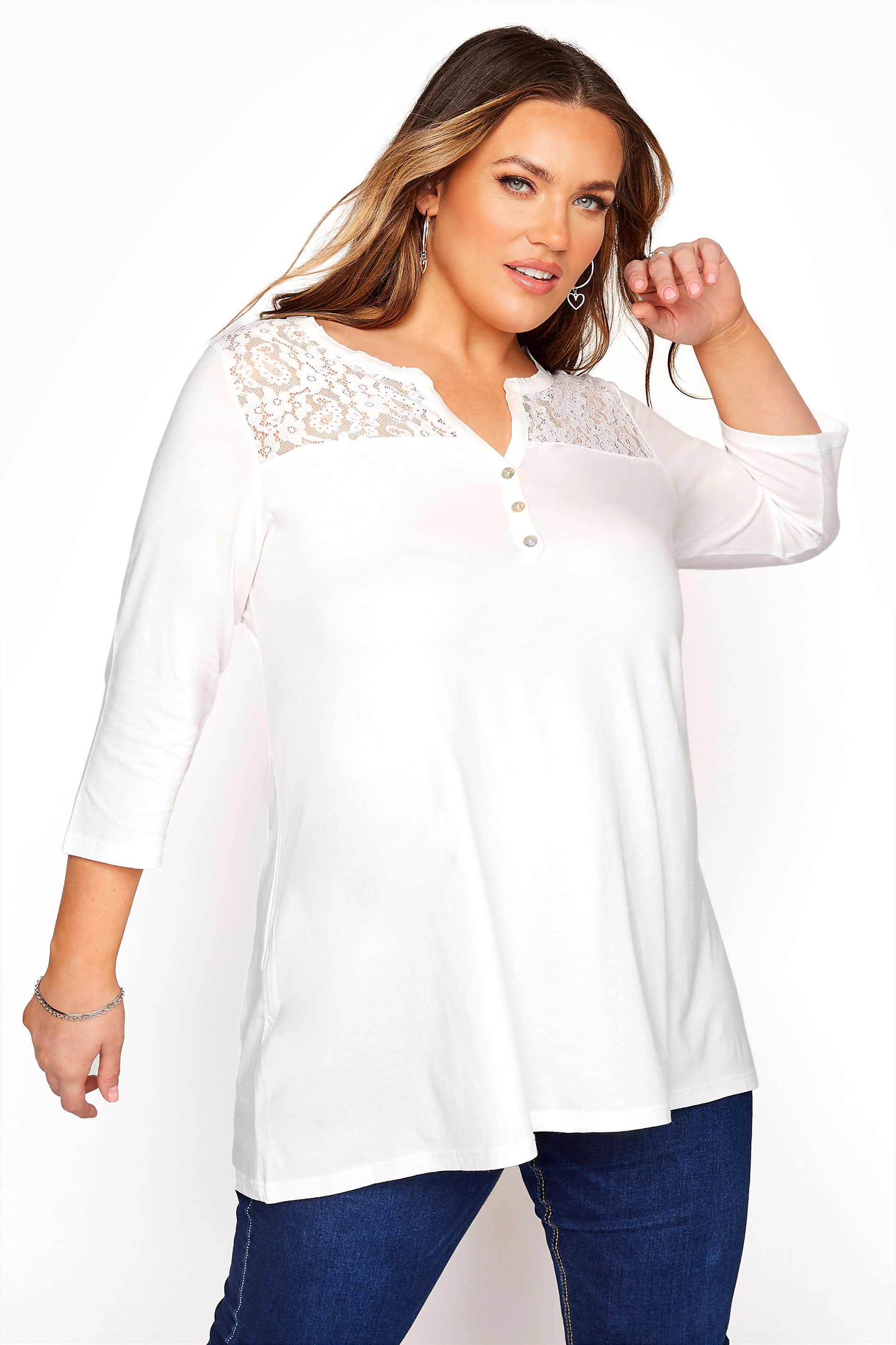 White Lace Insert Placket Top