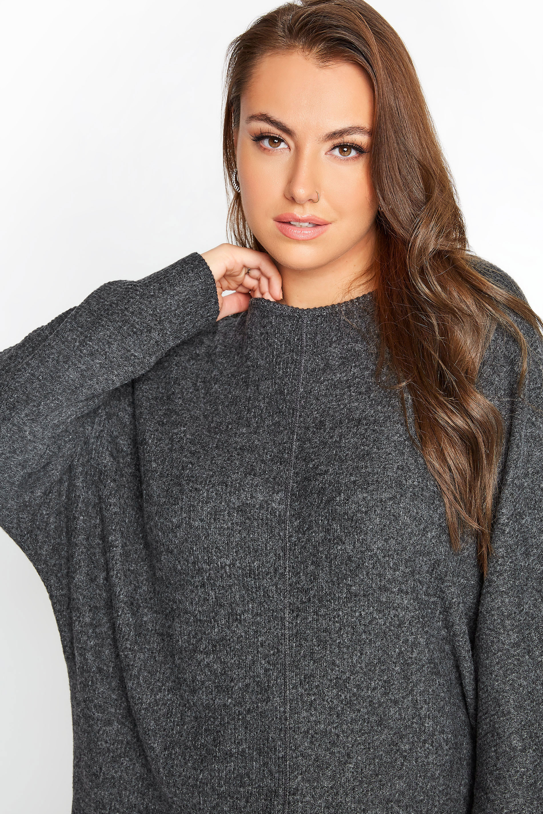 Charcoal Grey Ribbed Batwing Knitted Top