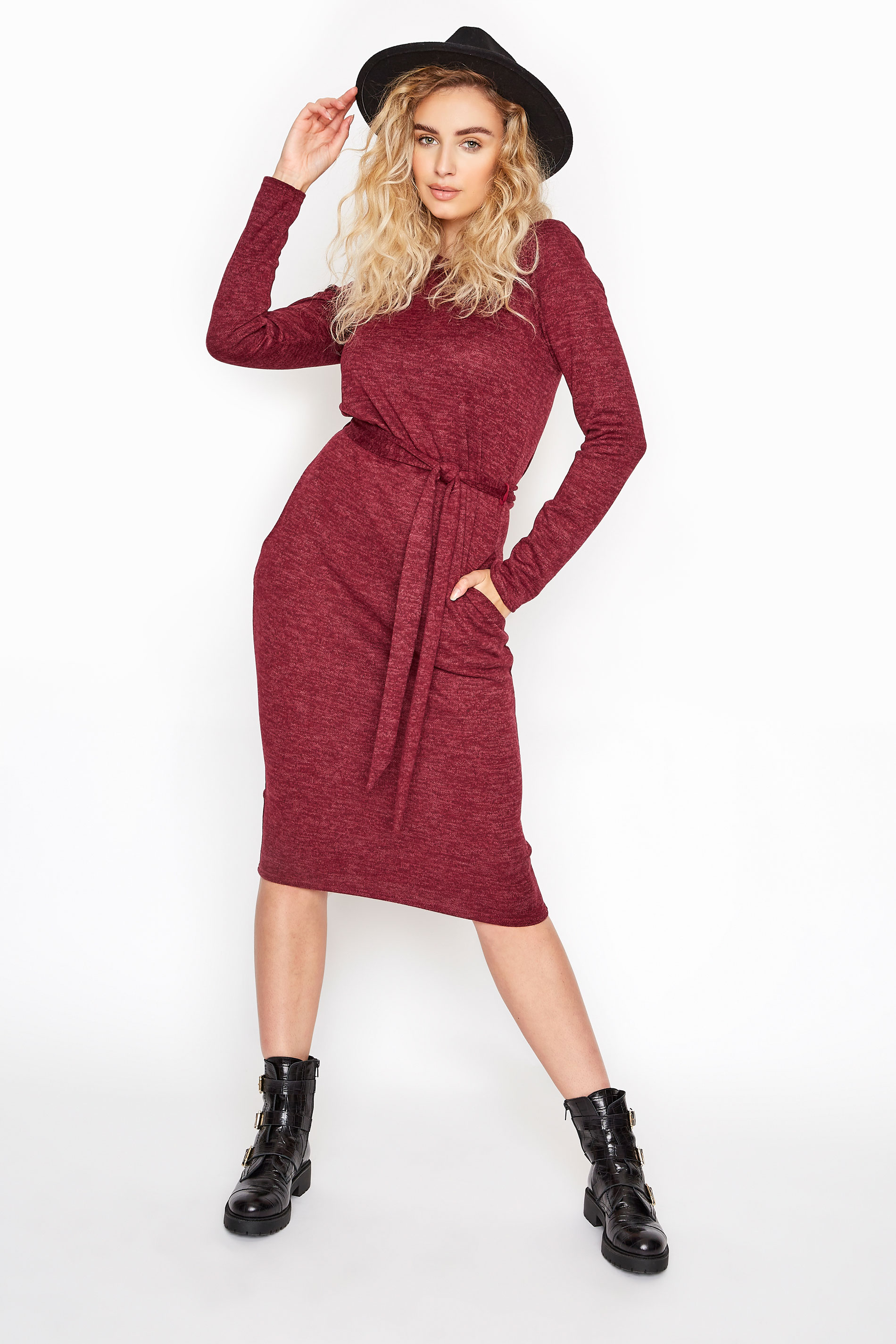 LTS Burgundy Marl Belted Midi Dress