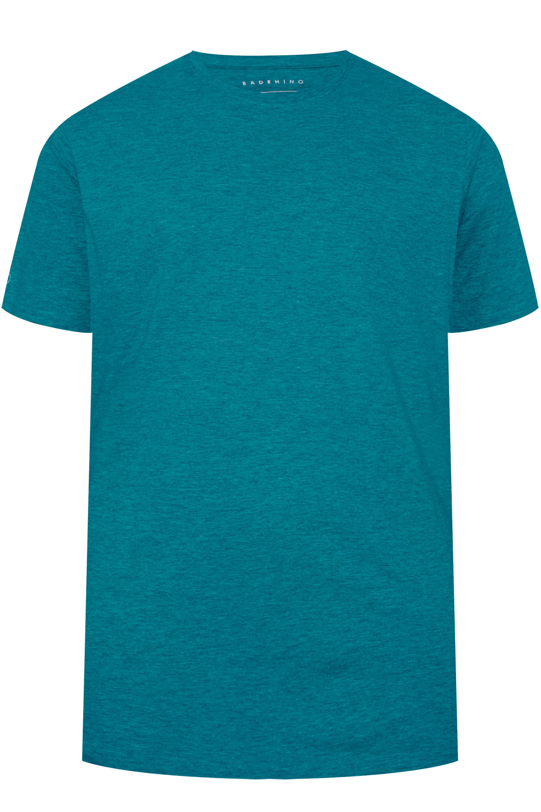 BadRhino Ocean Blue Marl Embroidered Logo T-Shirt