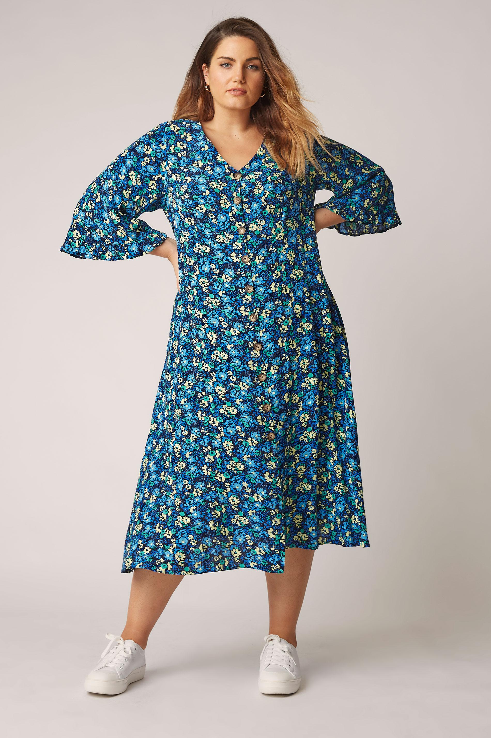 THE LIMITED EDIT Blue Floral Midaxi Dress_A.jpg