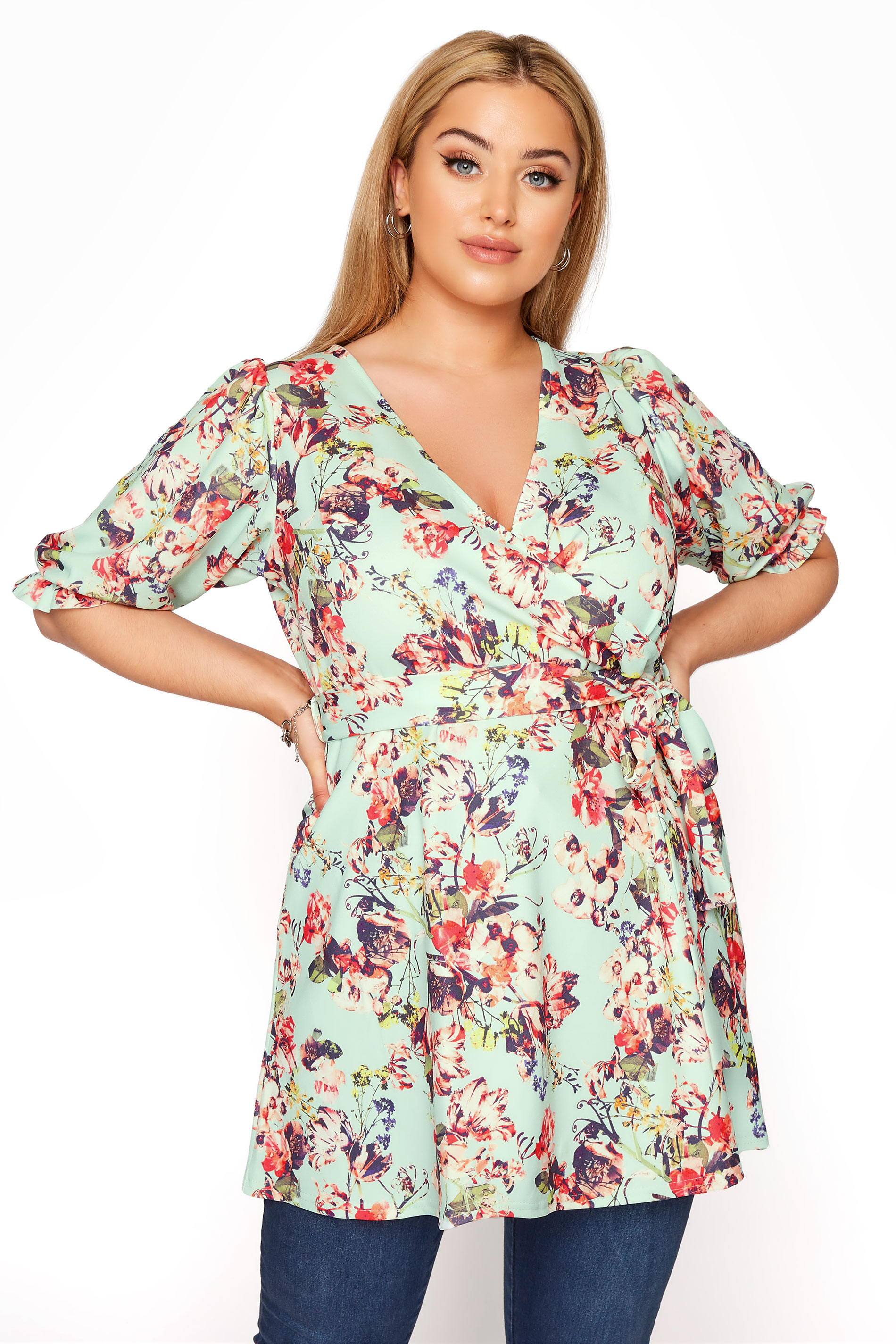 YOURS LONDON Sage Green Floral Puff Sleeve Wrap Top_A.jpg