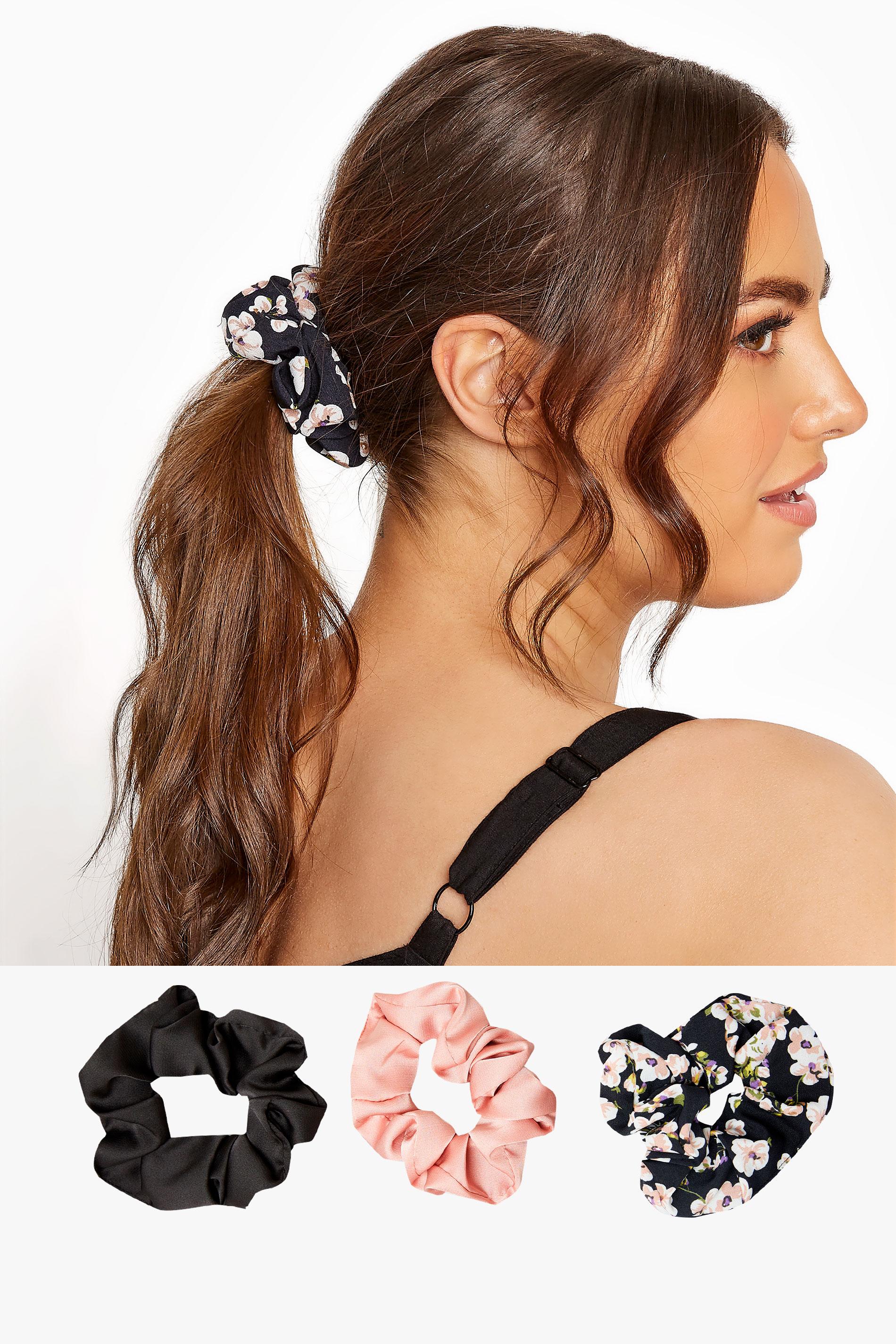 3 Pack Pink and Black Floral Scrunchie Set_split.jpg