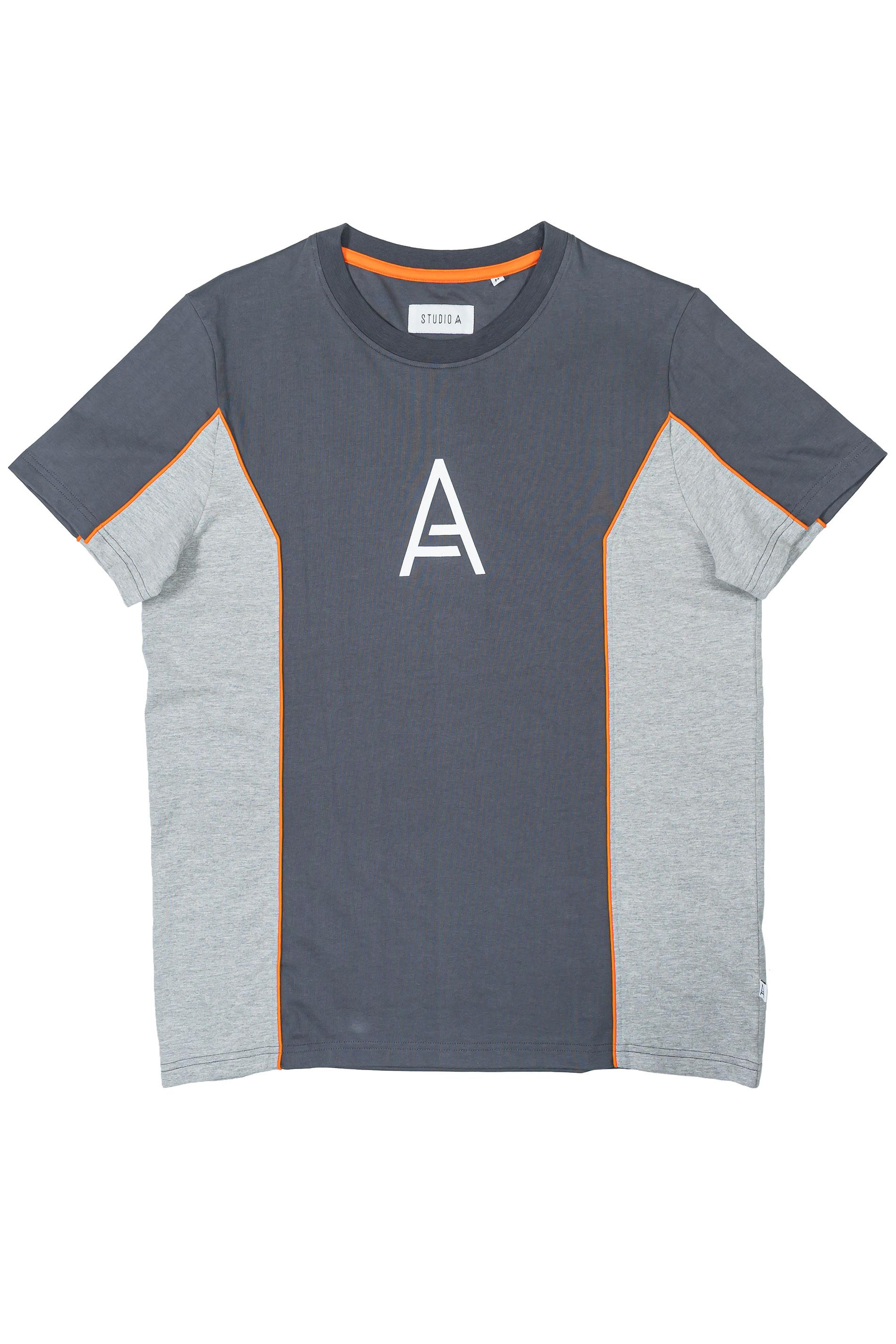 STUDIO A Charcoal Grey Panel Colour Block T-Shirt