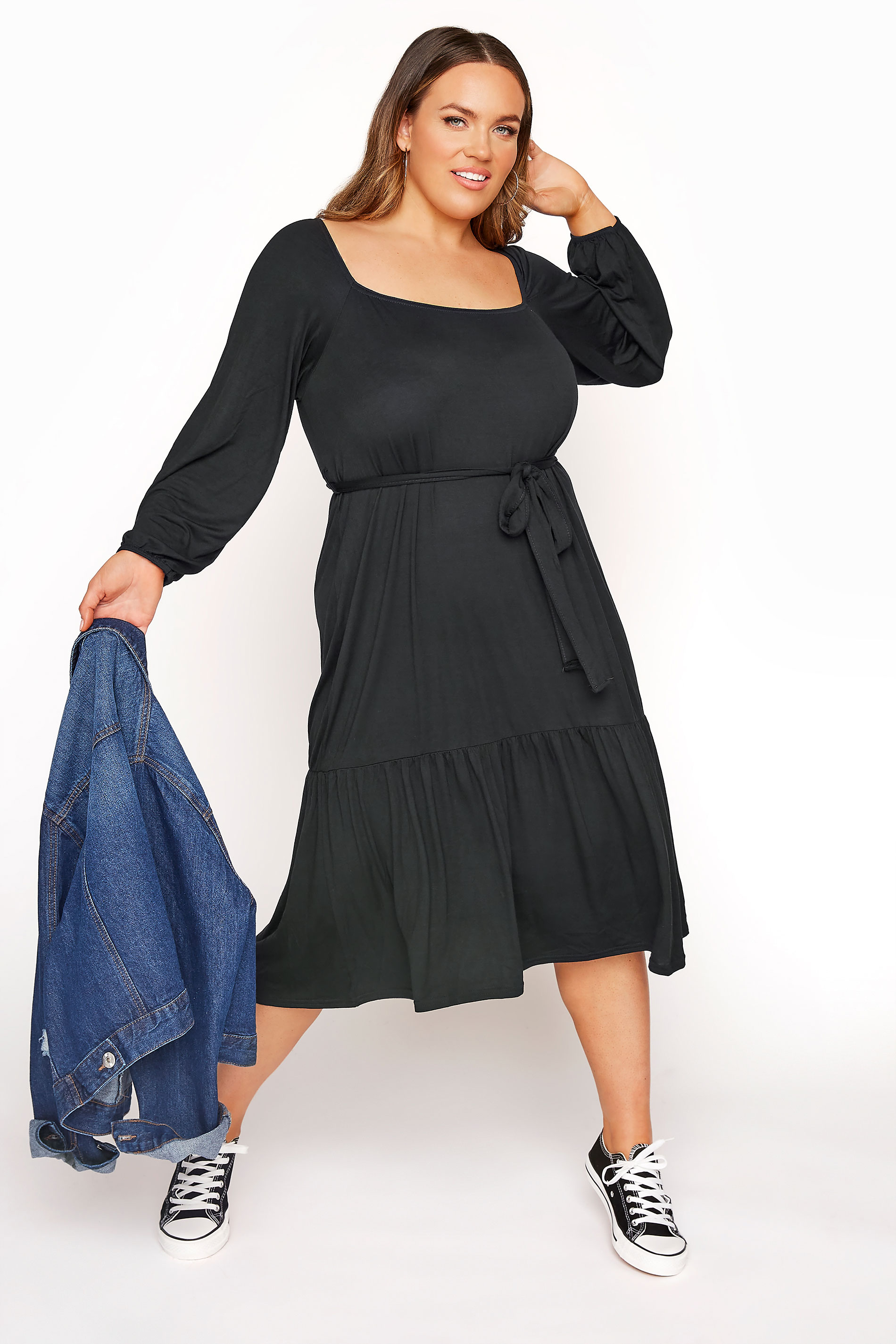 LIMITED COLLECTION Black Millkmaid Tiered Midi Dress_B.jpg