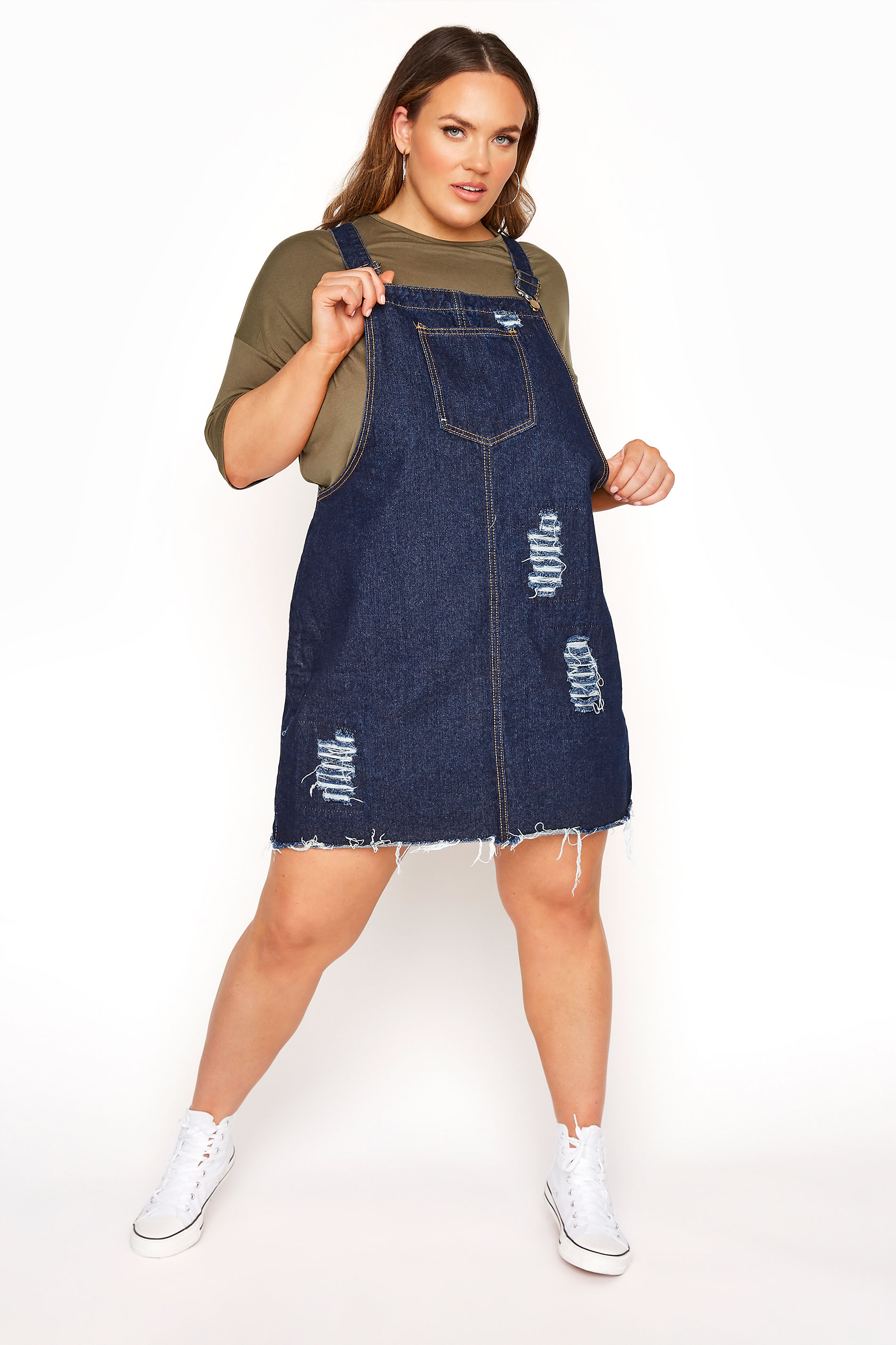 LIMITED COLLECTION Dark Blue Distressed Pinafore Dress_A.jpg